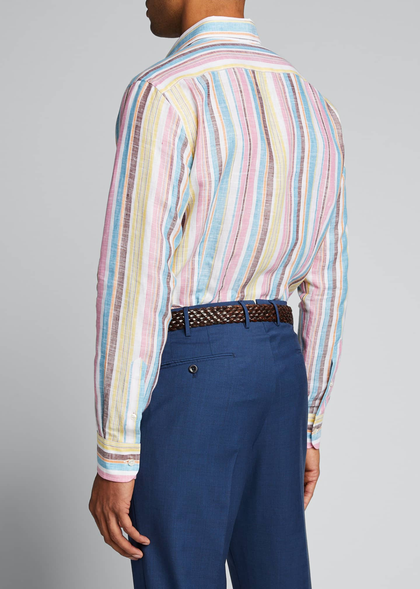 Image 2 of 5: Men's Vertical-Stripe Linen Sport Shirt