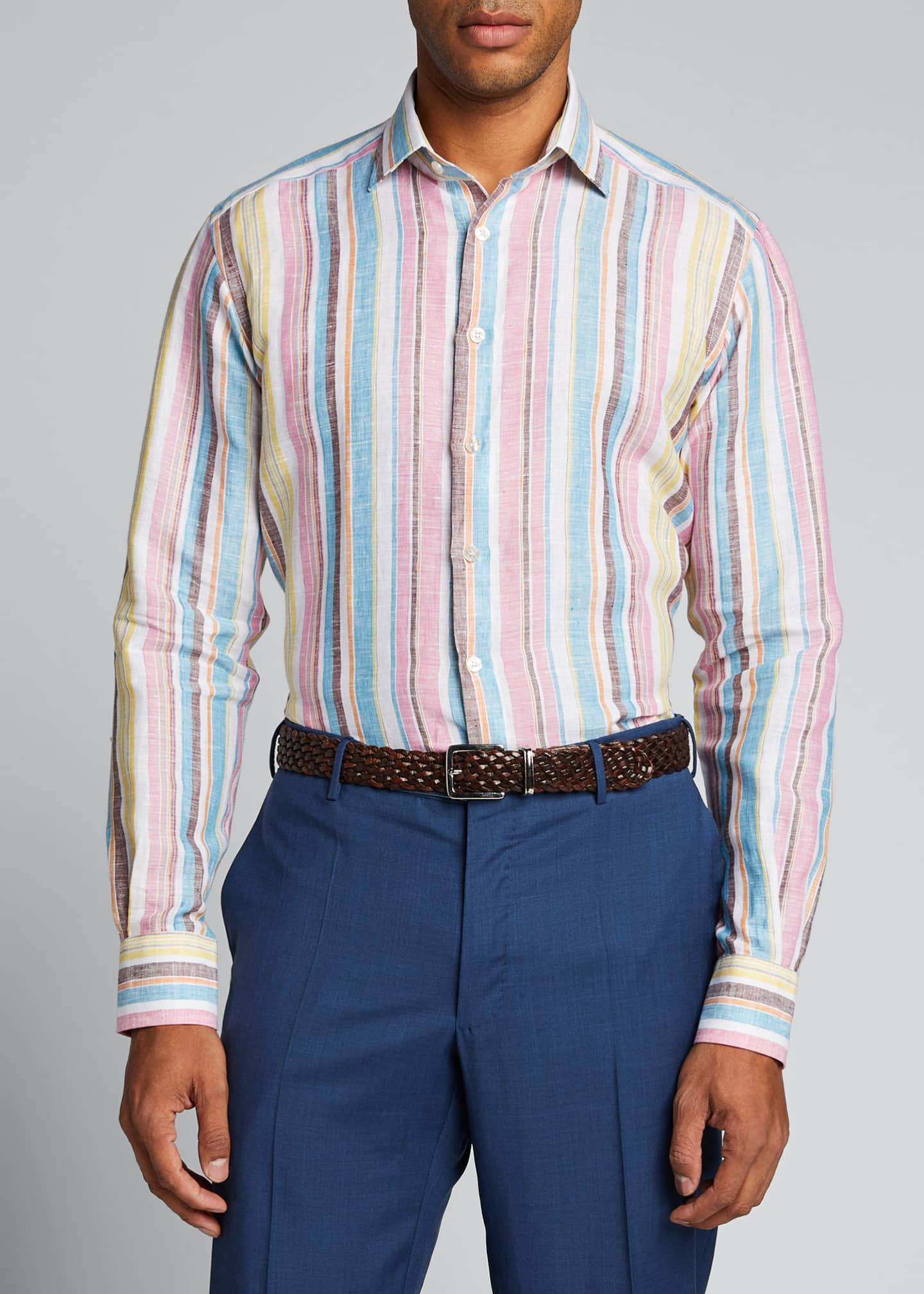 Image 3 of 5: Men's Vertical-Stripe Linen Sport Shirt