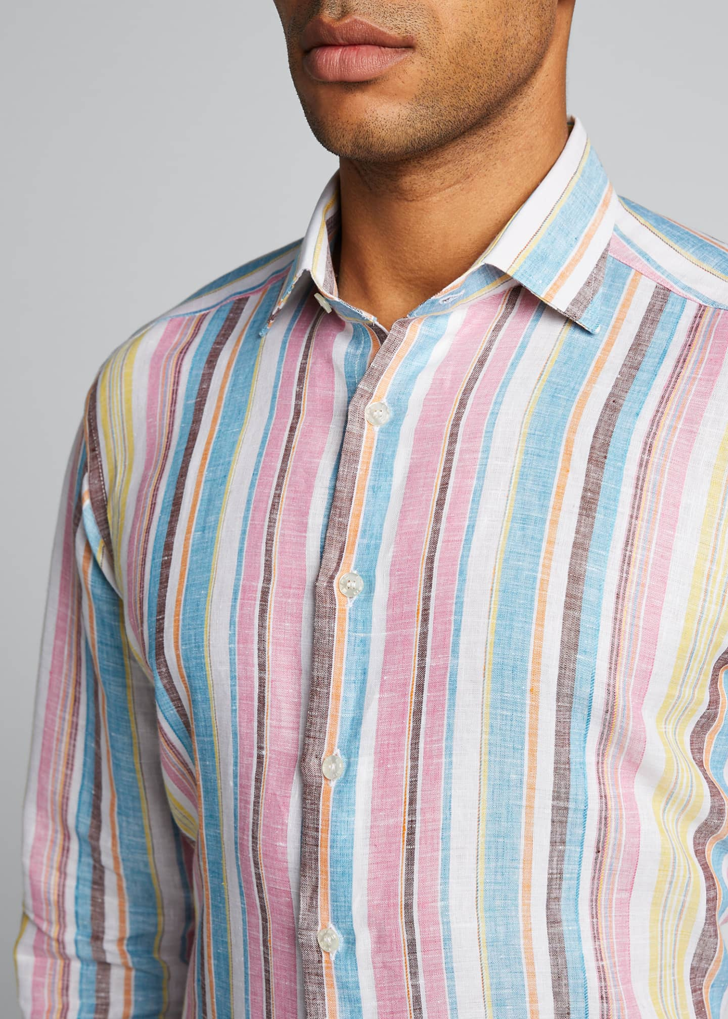 Image 4 of 5: Men's Vertical-Stripe Linen Sport Shirt