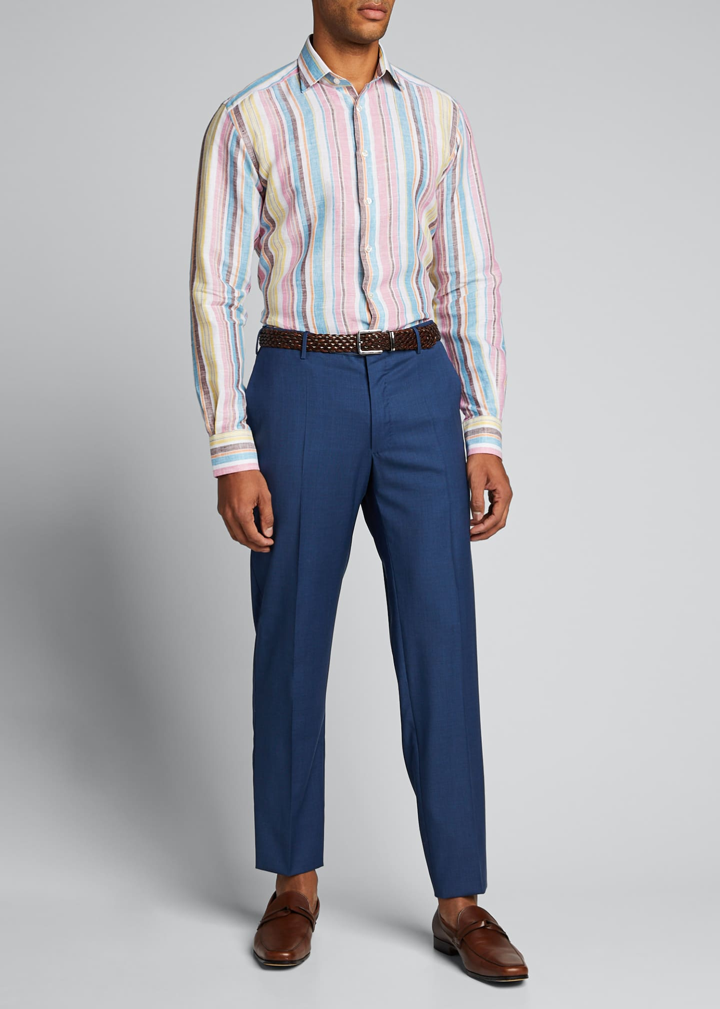 Image 1 of 5: Men's Vertical-Stripe Linen Sport Shirt