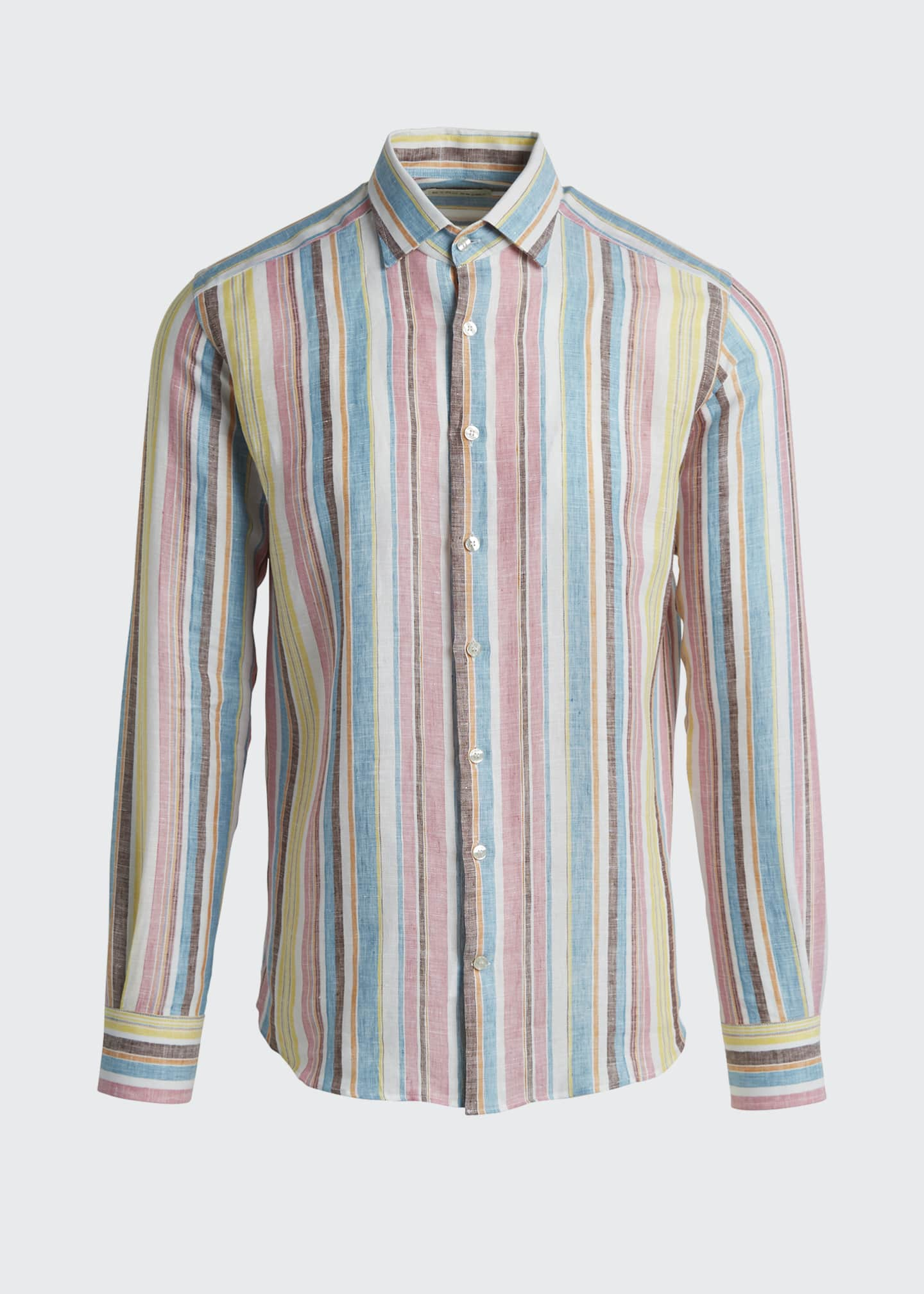 Image 5 of 5: Men's Vertical-Stripe Linen Sport Shirt