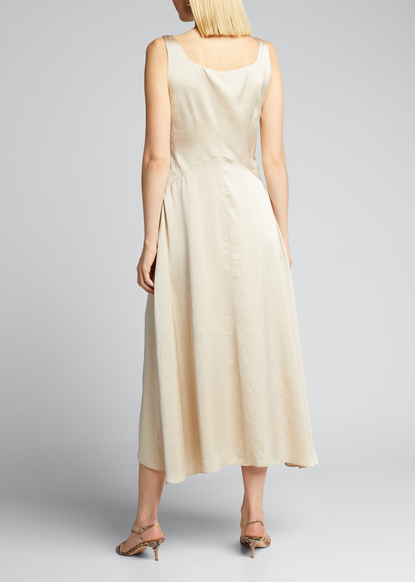 Image 2 of 5: Olive Sleeveless Satin Midi Dress