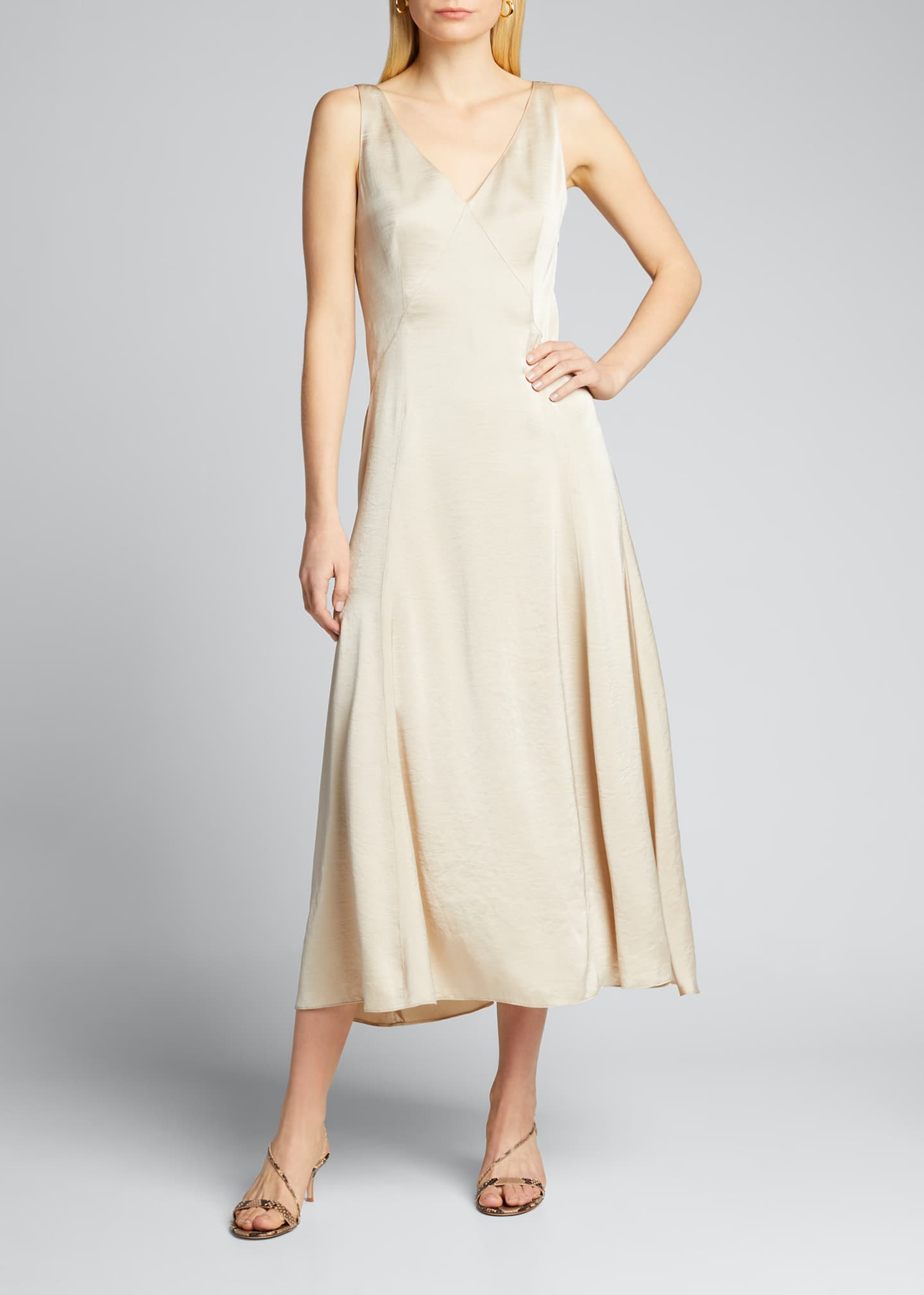 Image 3 of 5: Olive Sleeveless Satin Midi Dress