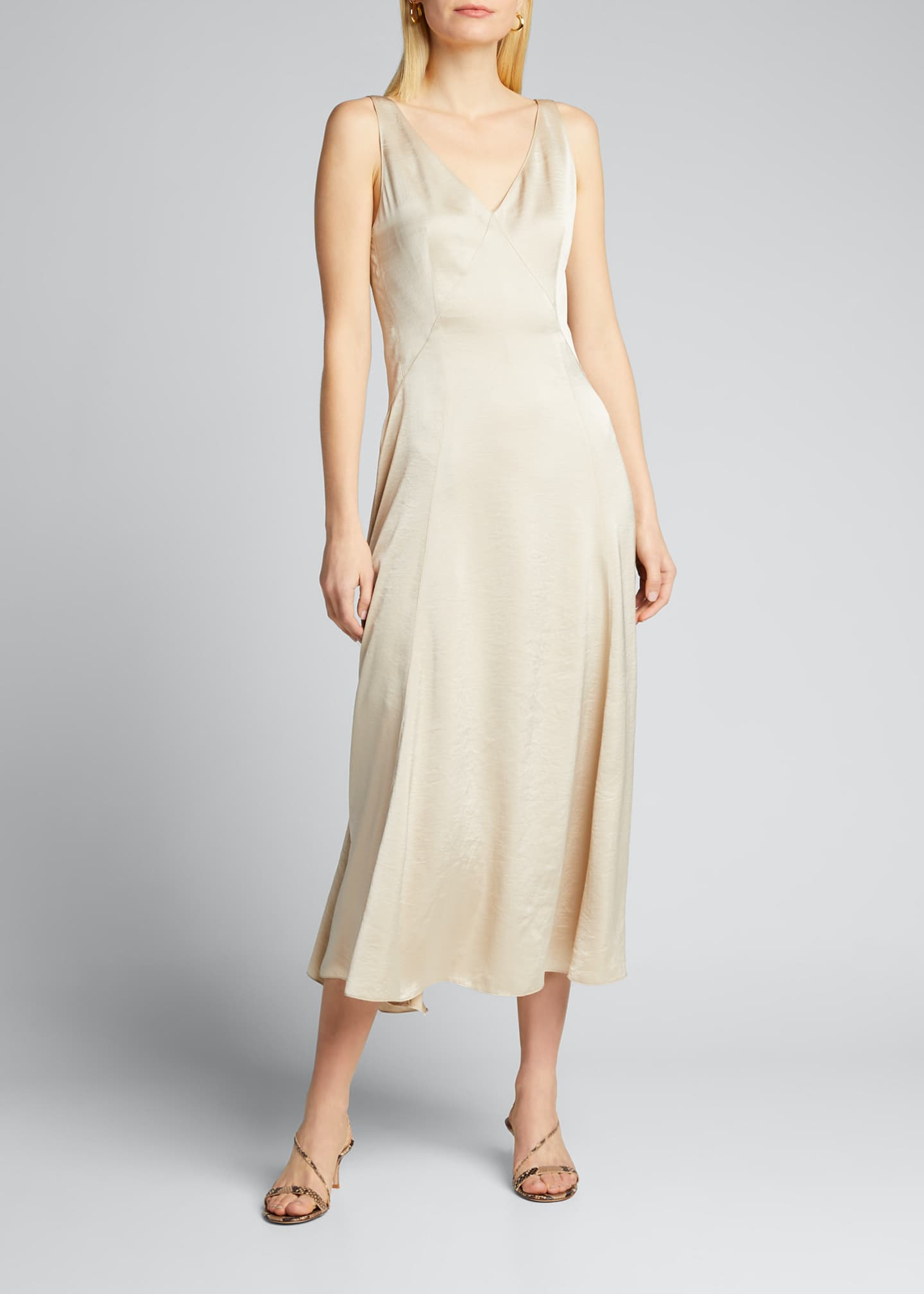 Image 1 of 5: Olive Sleeveless Satin Midi Dress