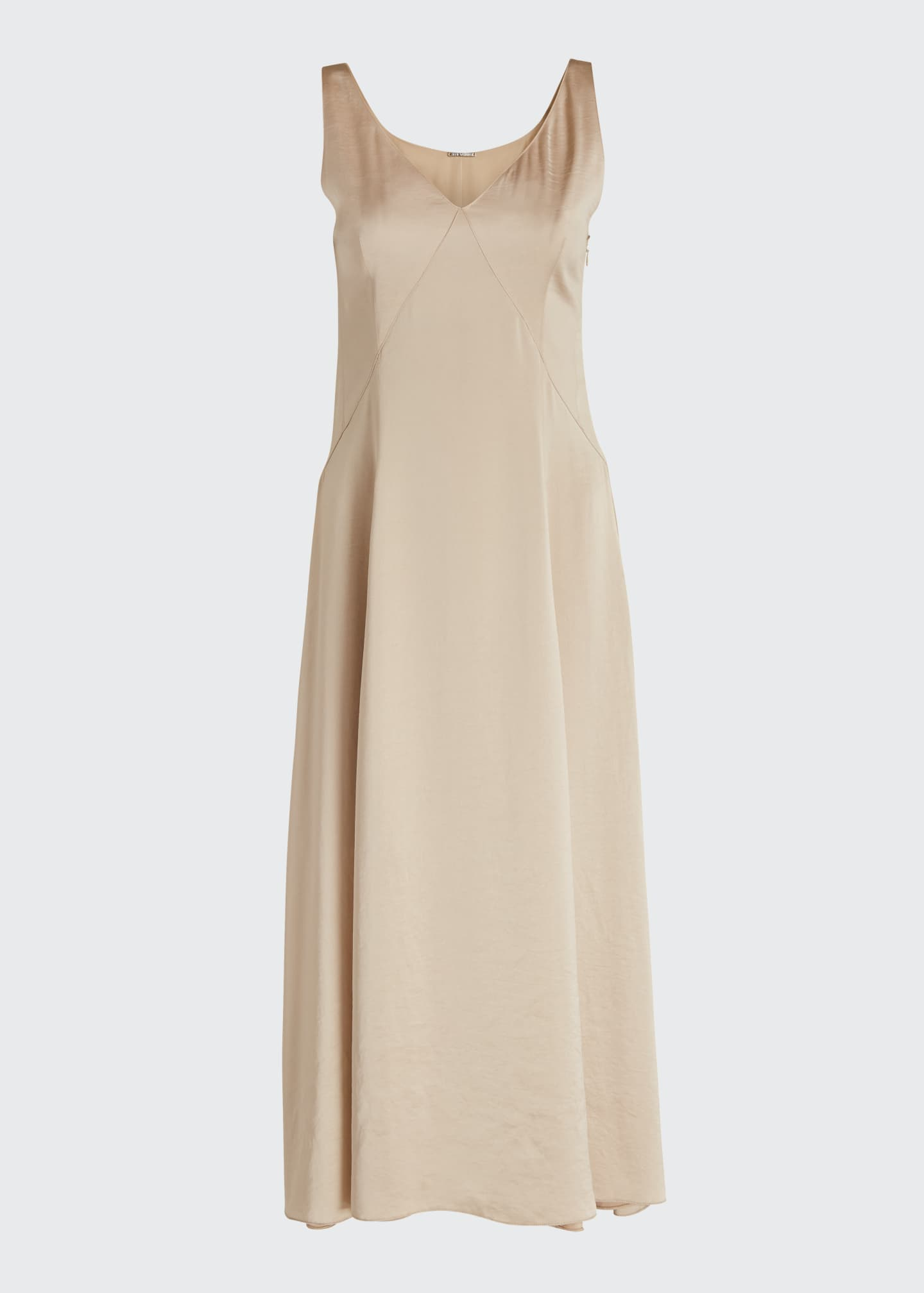 Image 5 of 5: Olive Sleeveless Satin Midi Dress