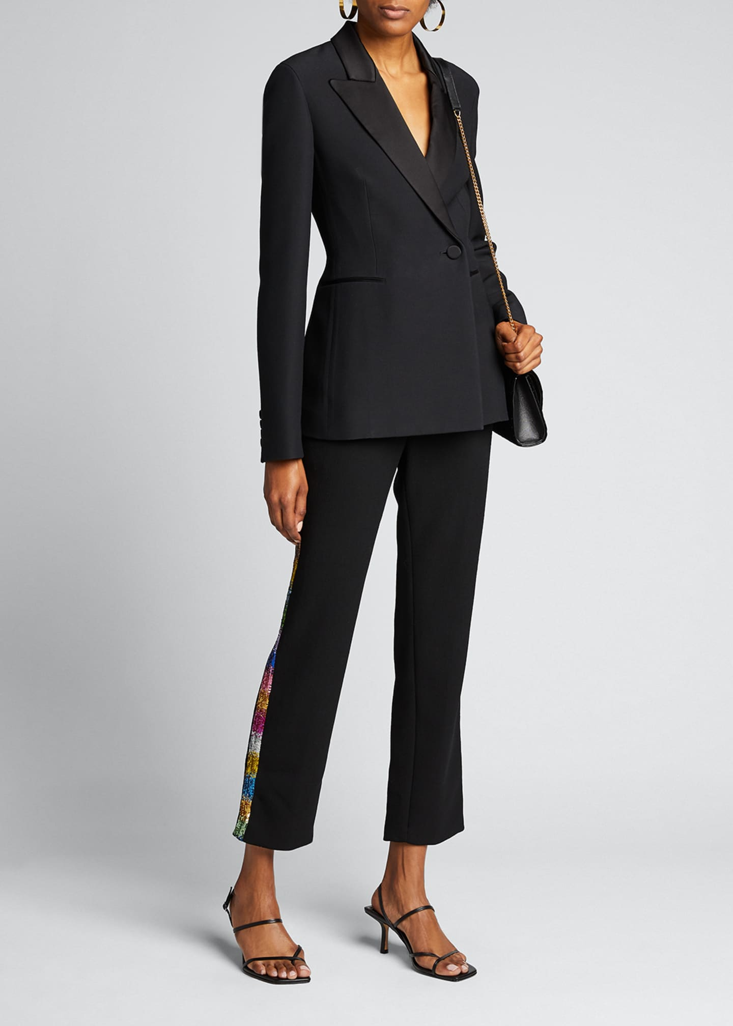 Image 1 of 5: Electric Dream Sequin Tuxedo-Striped Pants
