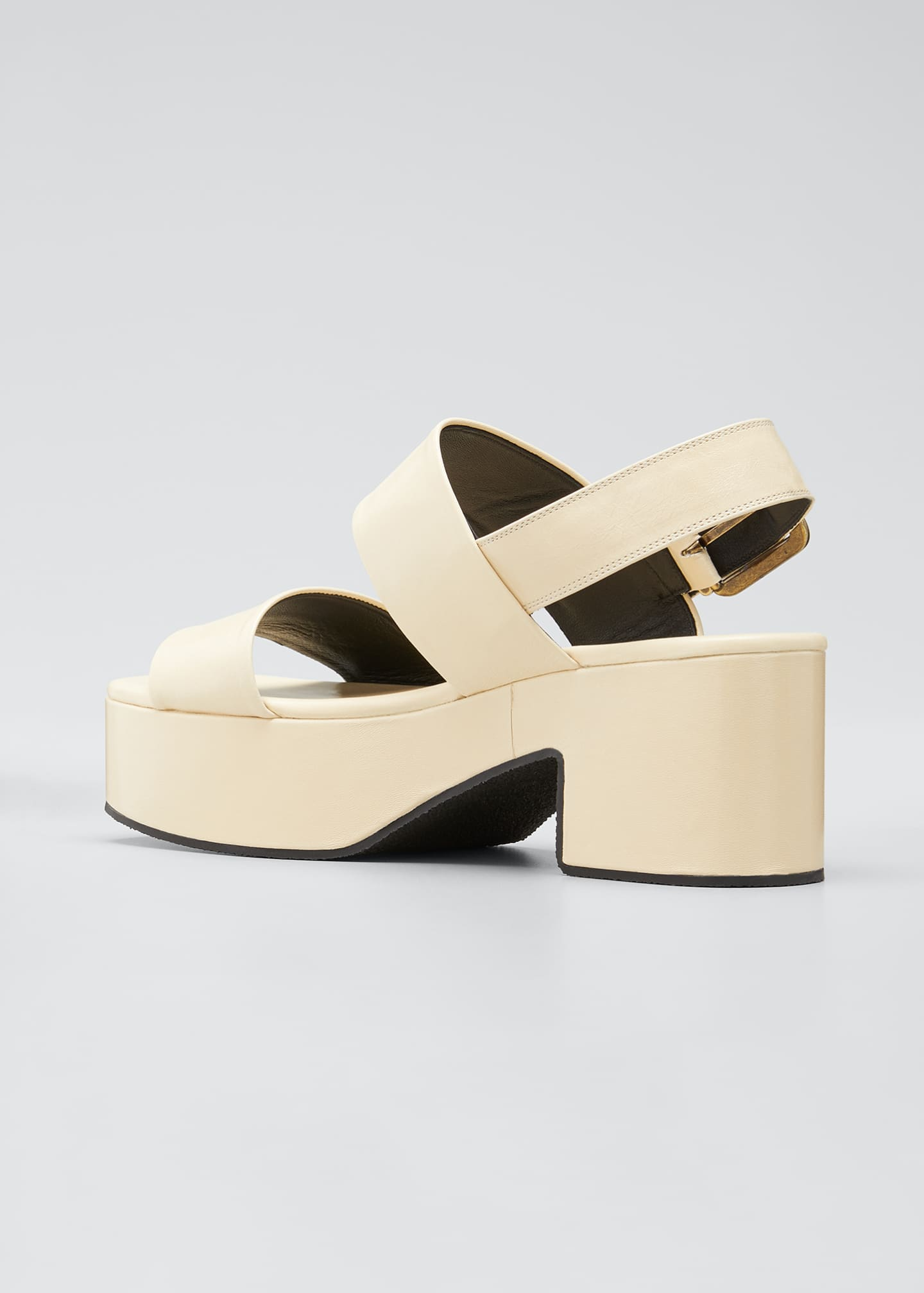 Image 2 of 3: Flatform Leather Block-Heel Sandals