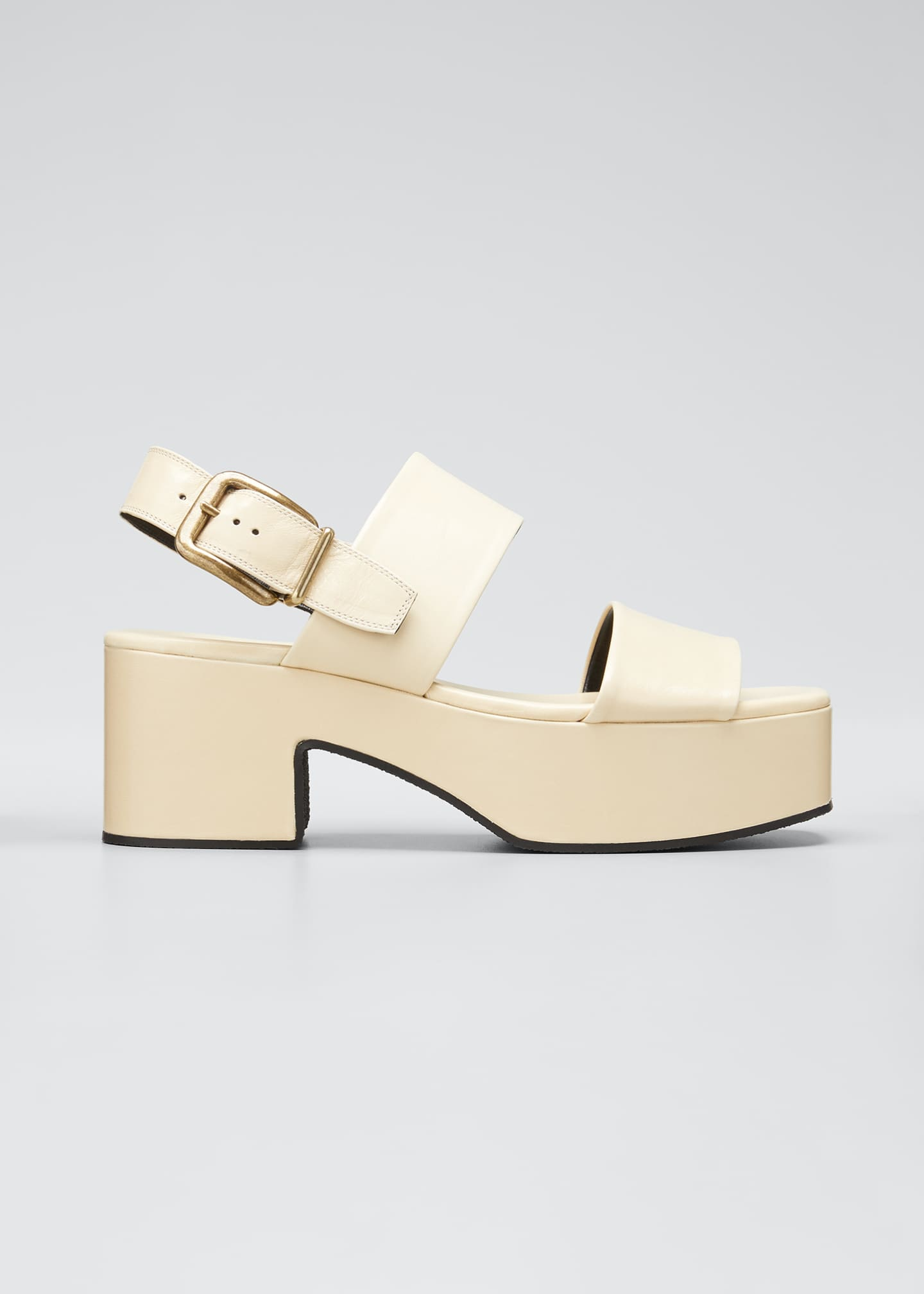 Image 1 of 3: Flatform Leather Block-Heel Sandals