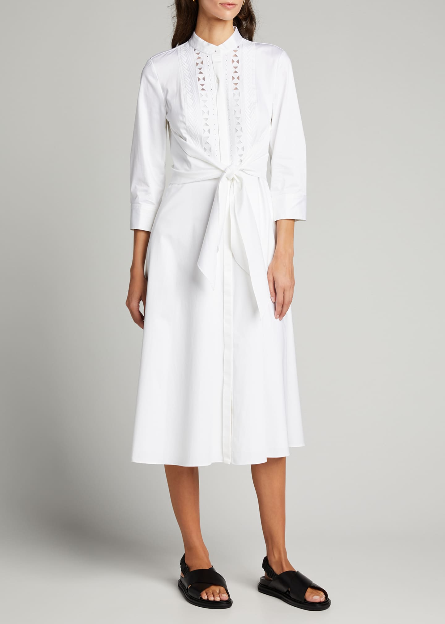 Image 3 of 5: Ann 3/4-Sleeve Tie-Waist Midi Dress
