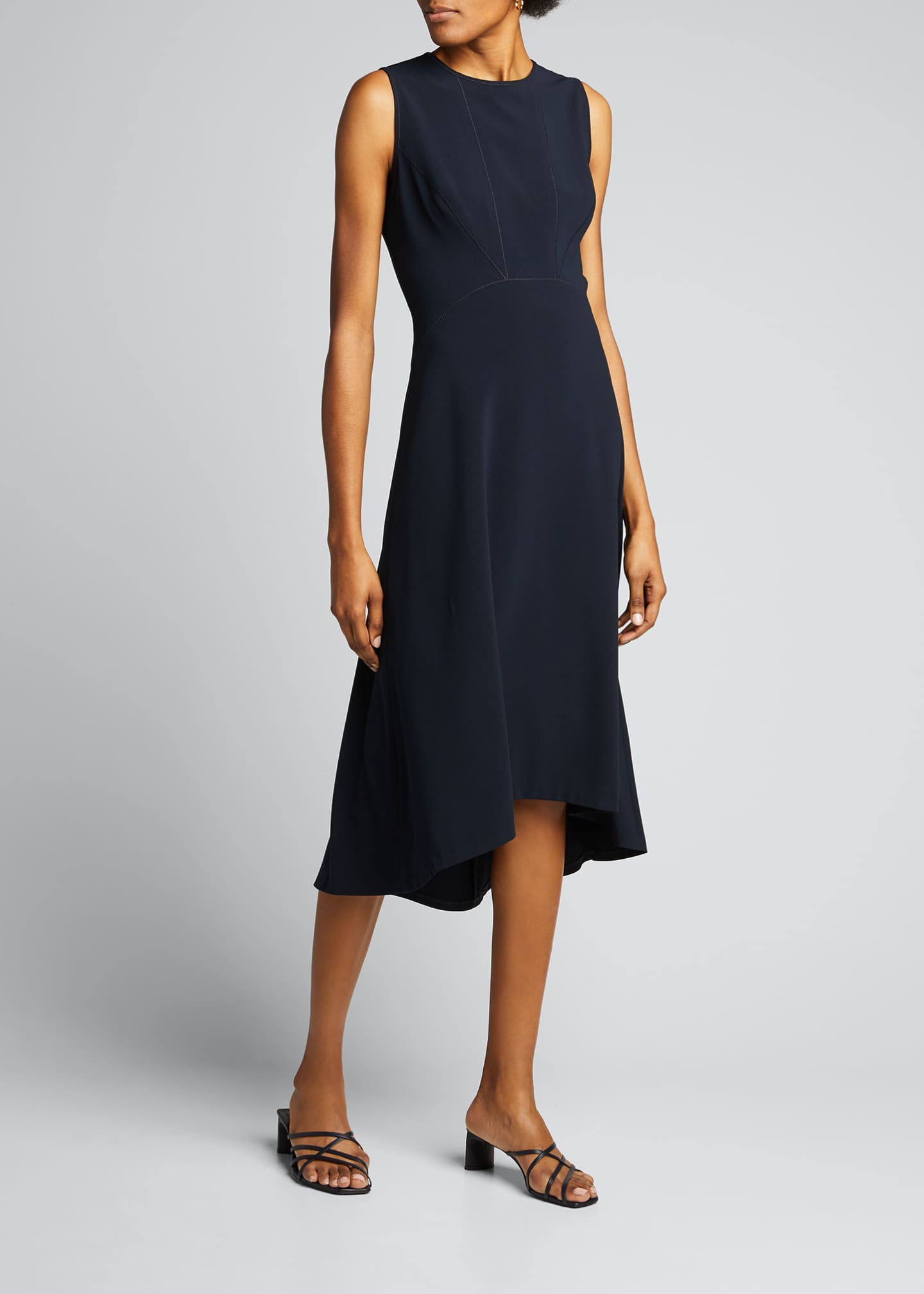 Image 3 of 5: Leighton Sleeveless High-Low Crepe Dress