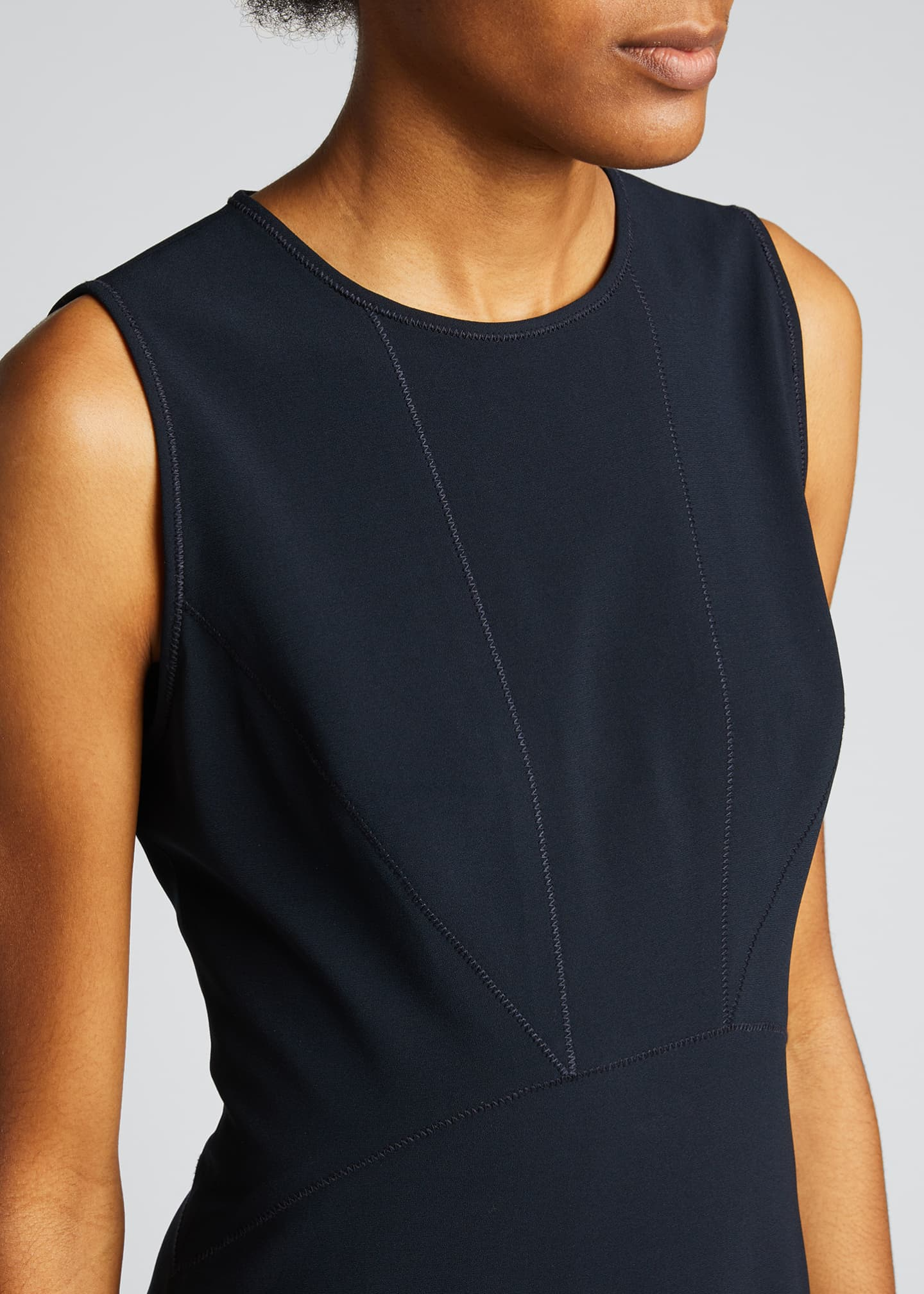 Image 4 of 5: Leighton Sleeveless High-Low Crepe Dress
