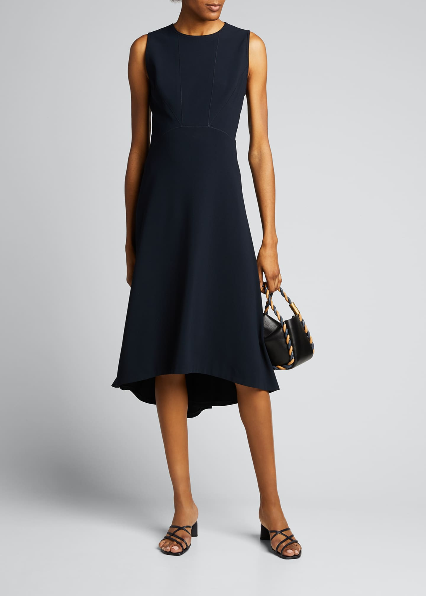 Image 1 of 5: Leighton Sleeveless High-Low Crepe Dress