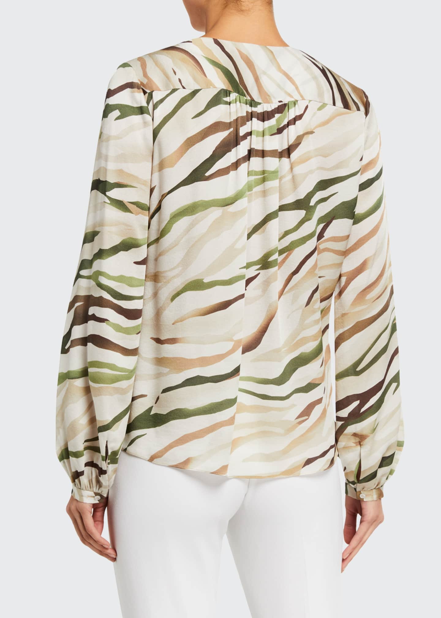Image 2 of 2: Kali Tie-Front Long-Sleeve Silk Shirt