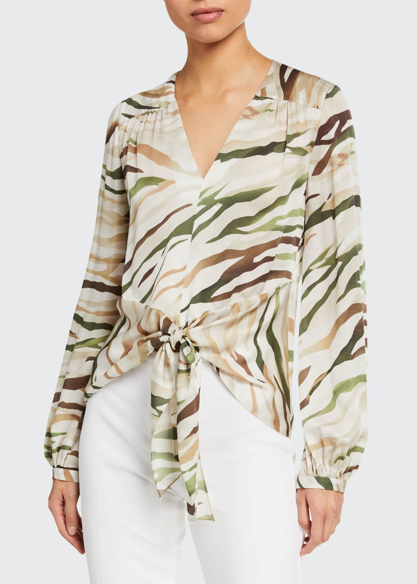 Image 1 of 2: Kali Tie-Front Long-Sleeve Silk Shirt