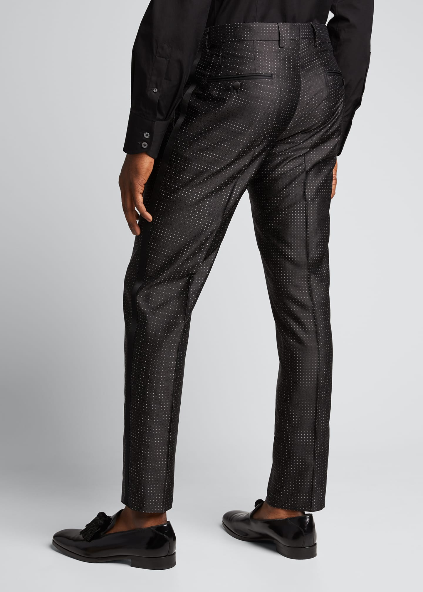 Image 2 of 5: Men's Satin Dot Evening Pants
