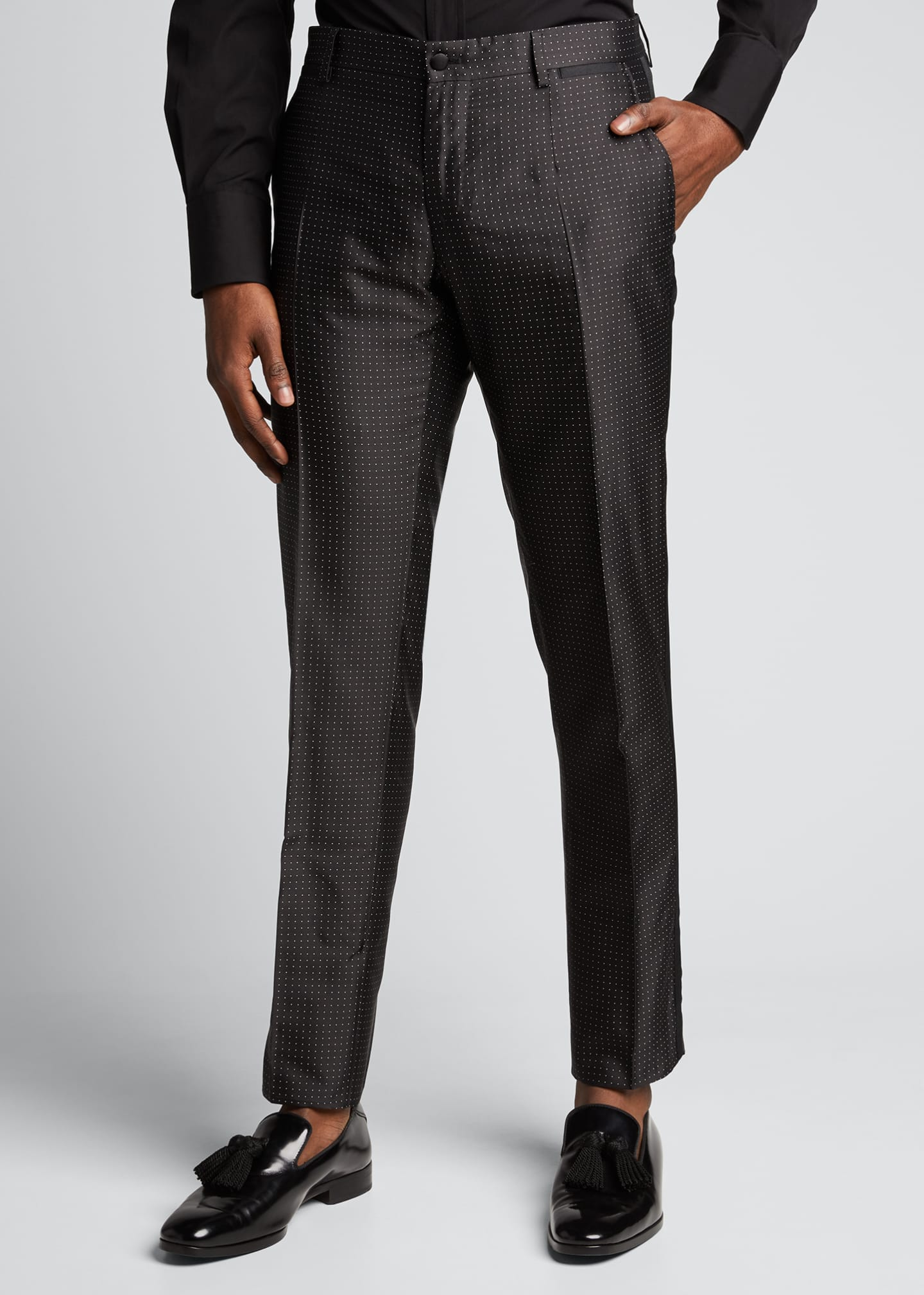 Image 3 of 5: Men's Satin Dot Evening Pants