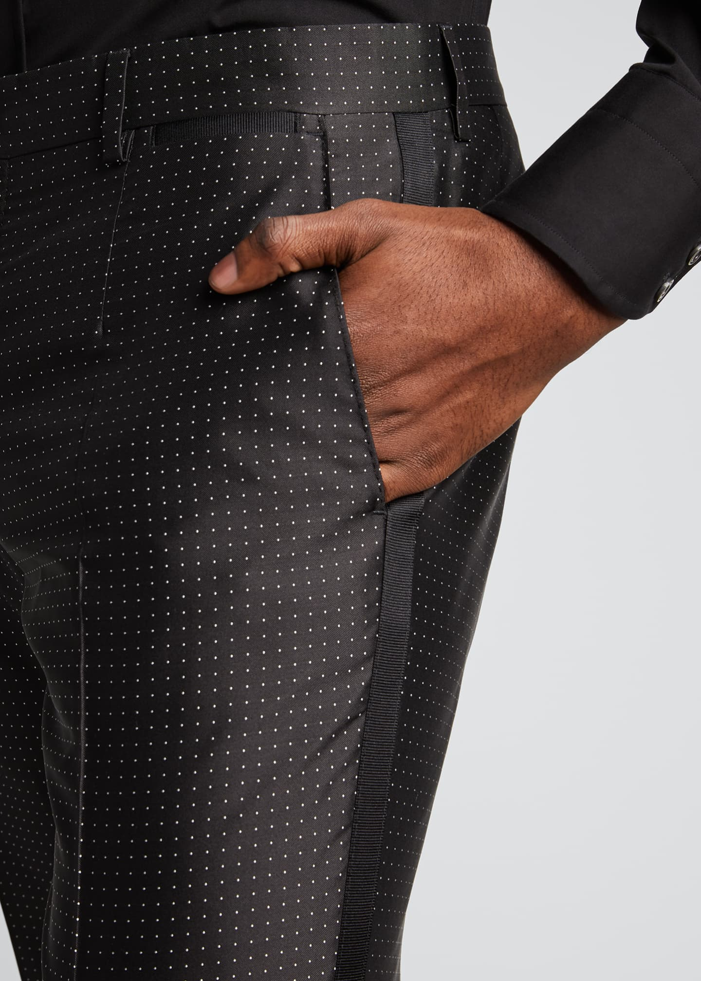 Image 4 of 5: Men's Satin Dot Evening Pants
