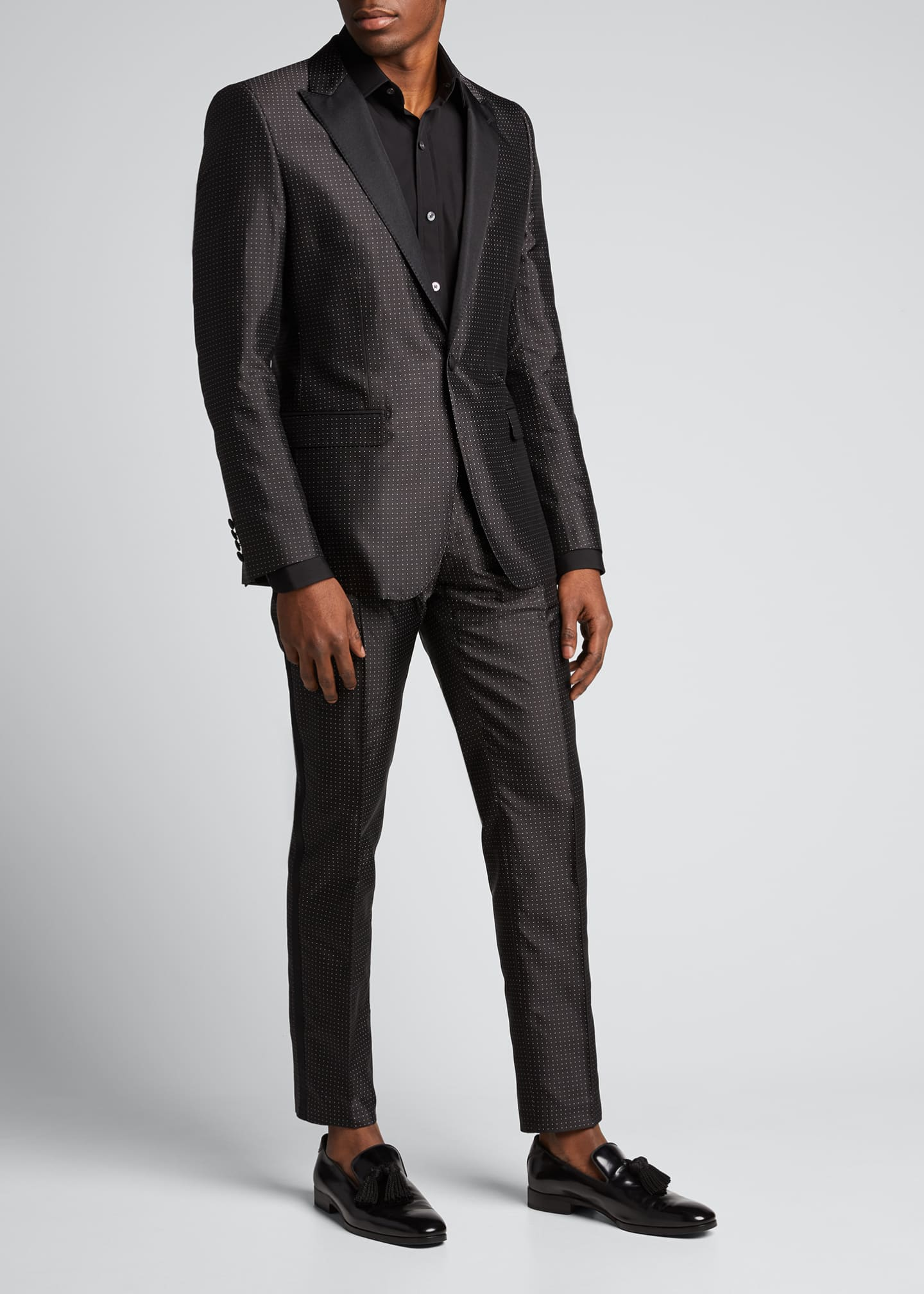 Image 1 of 5: Men's Satin Dot Evening Pants