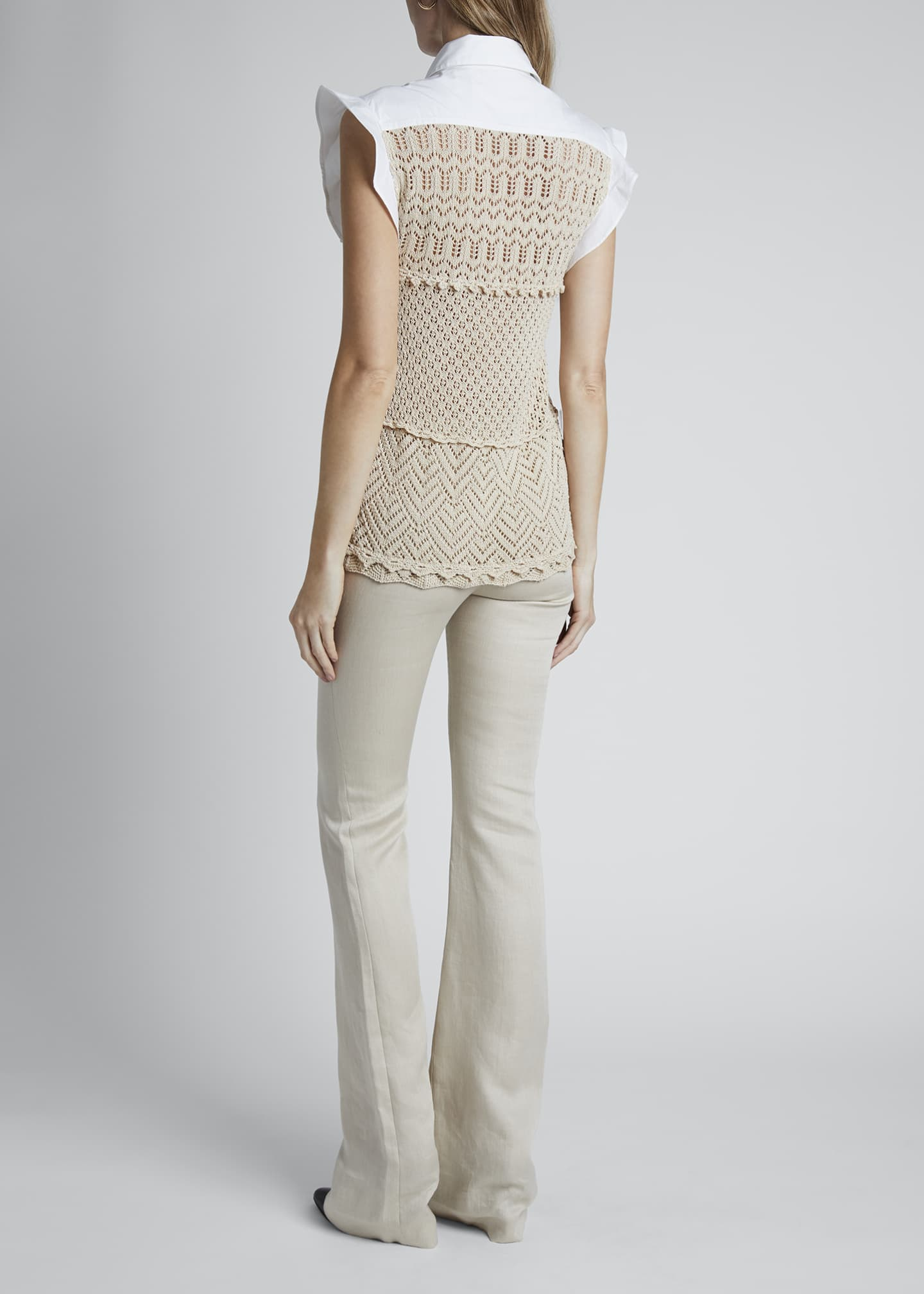 Image 2 of 4: Cotton Crochet Short-Sleeve Collar Top