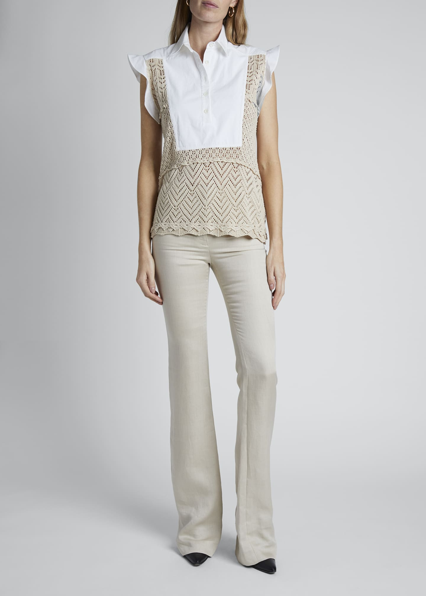 Image 3 of 4: Cotton Crochet Short-Sleeve Collar Top