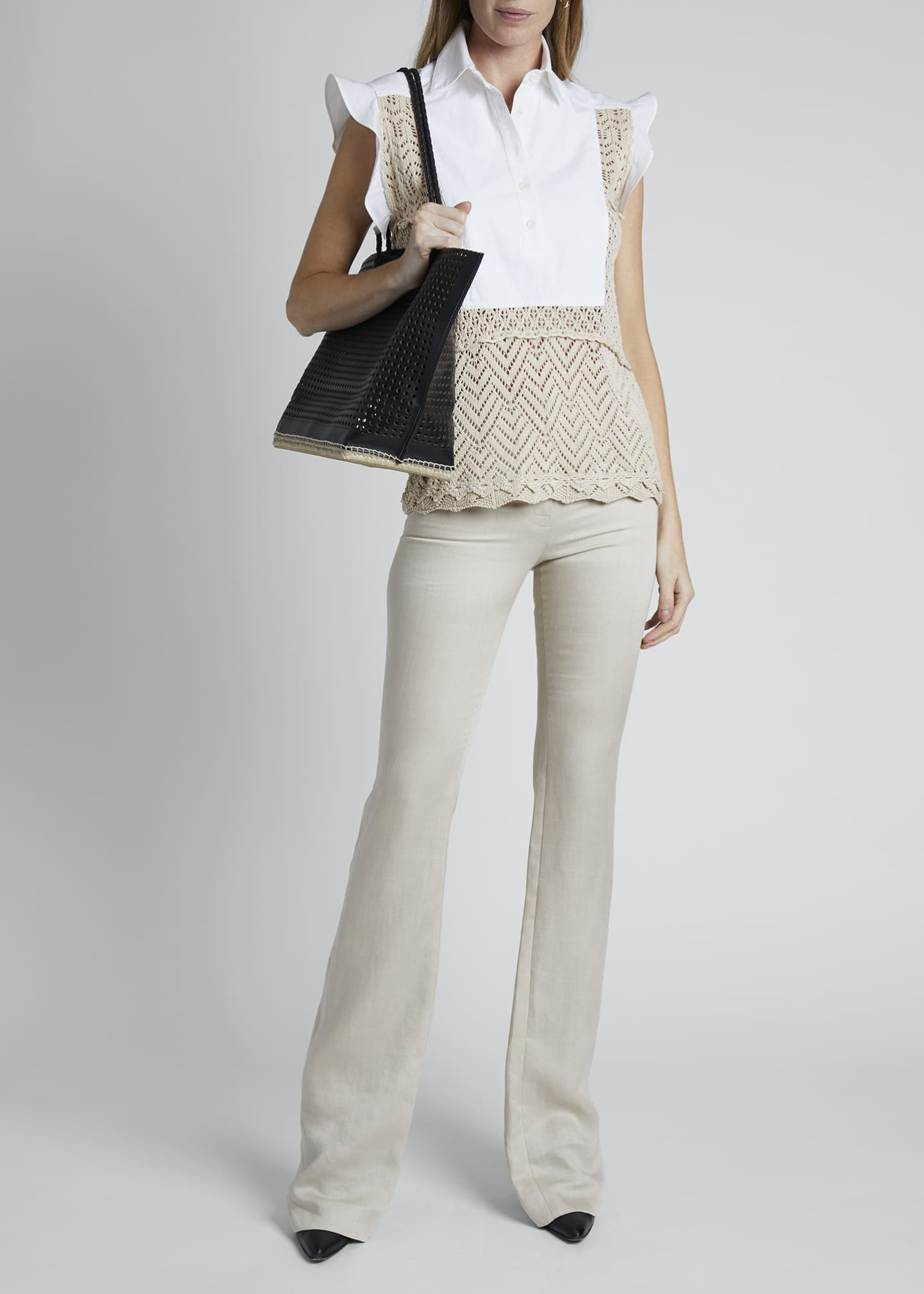 Image 1 of 4: Cotton Crochet Short-Sleeve Collar Top