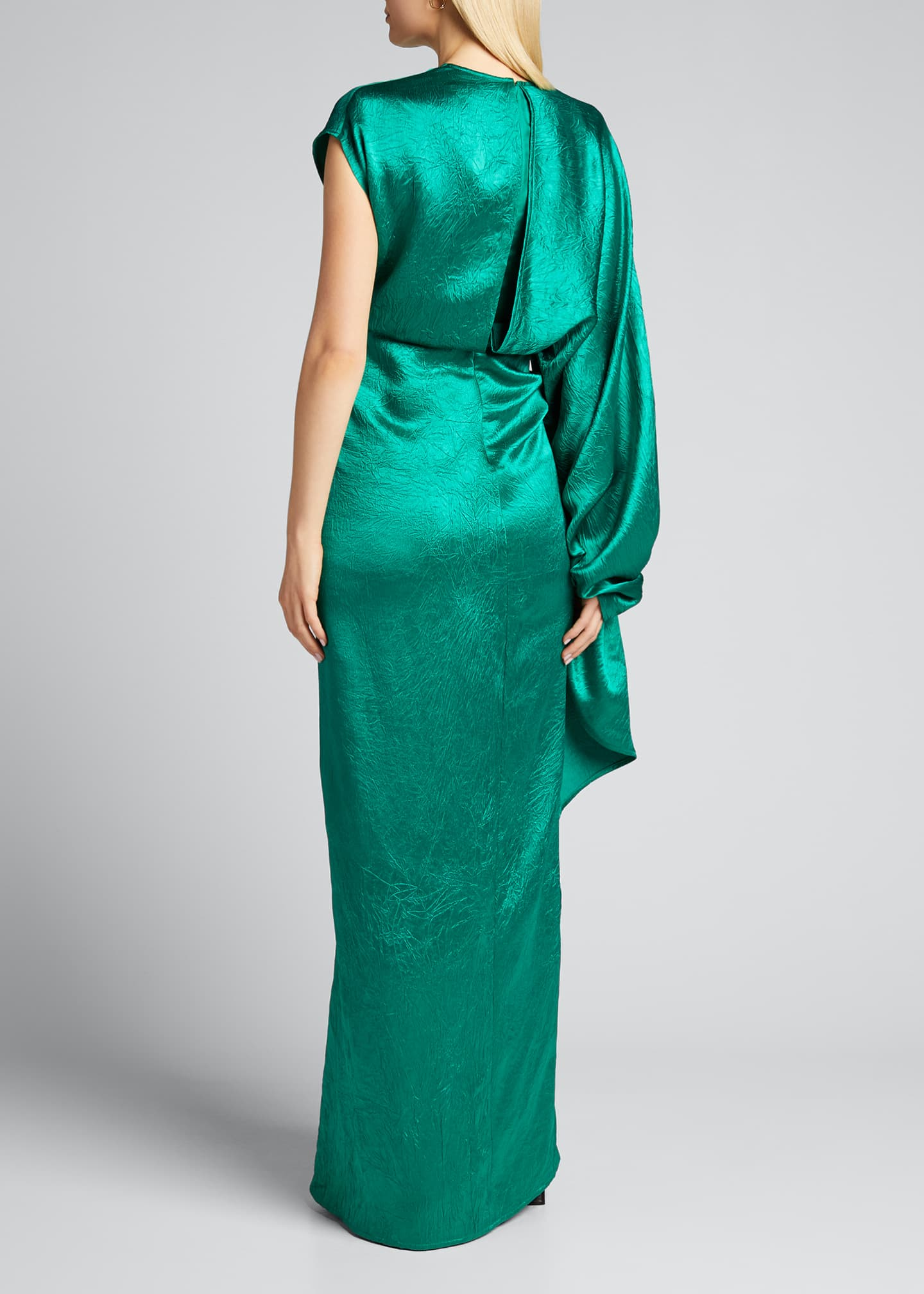 Image 2 of 5: Crinkled Satin One-Shoulder Gown