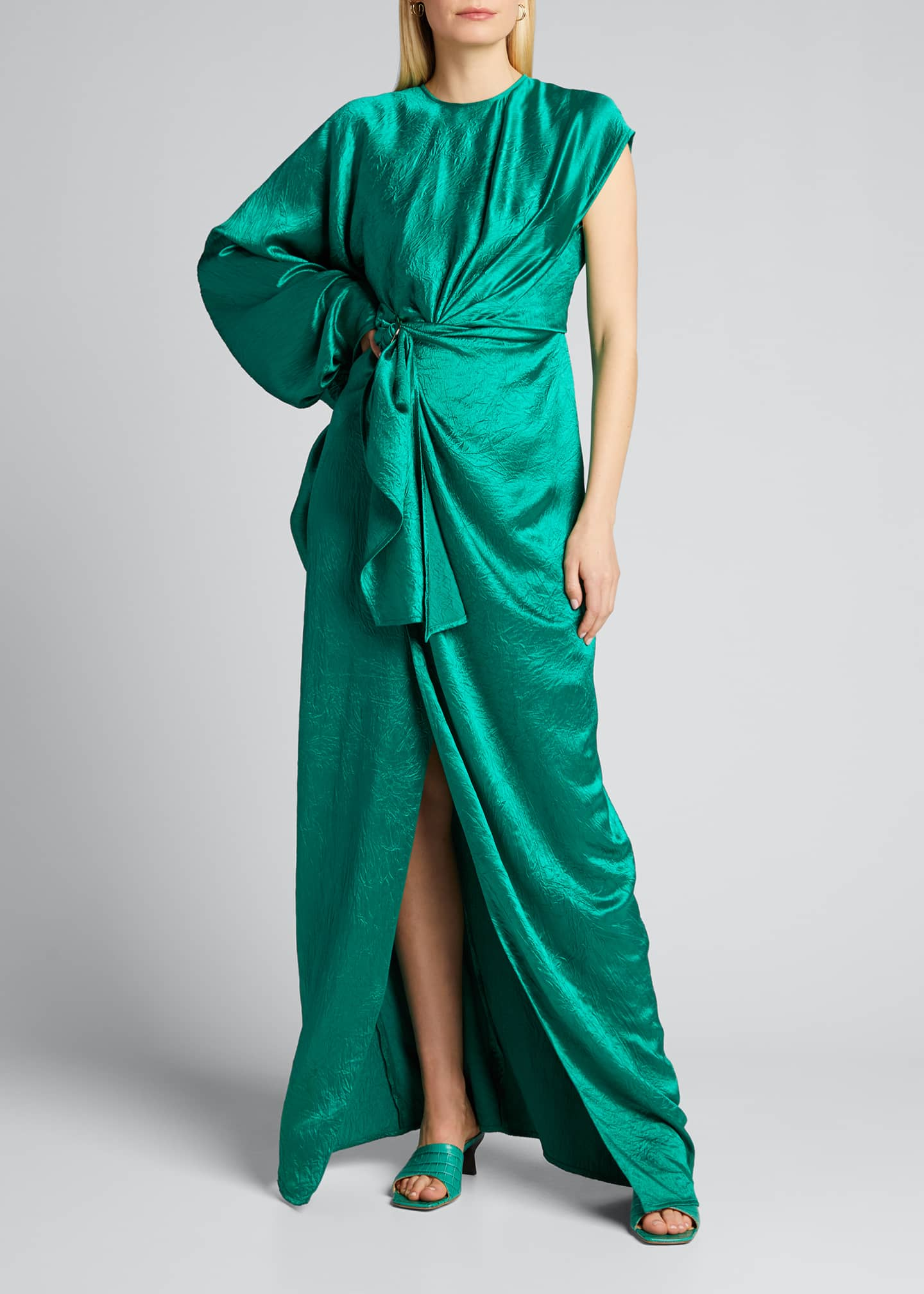 Image 3 of 5: Crinkled Satin One-Shoulder Gown