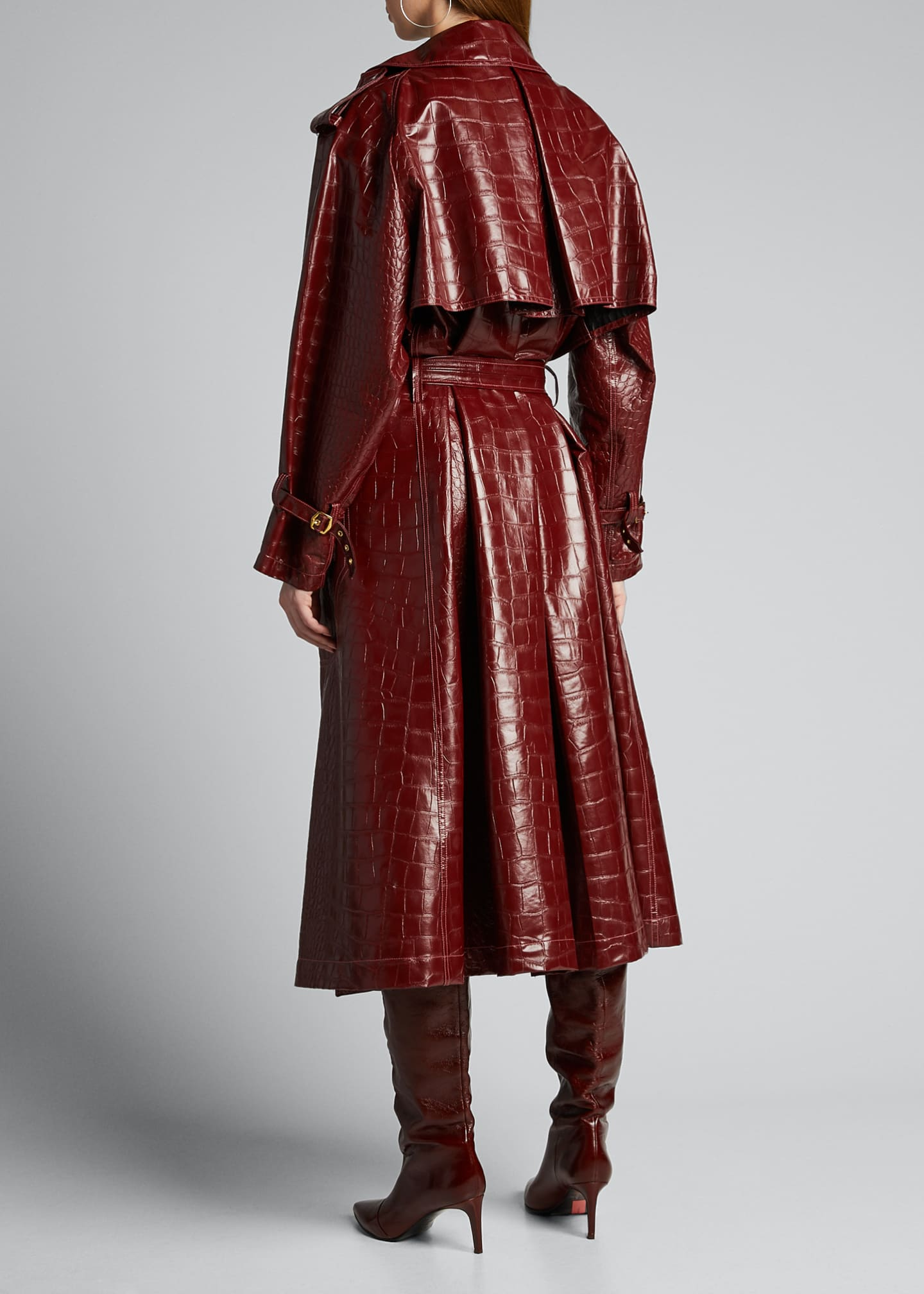 Image 2 of 5: Alligator-Embossed Faux-Leather Trench Coat