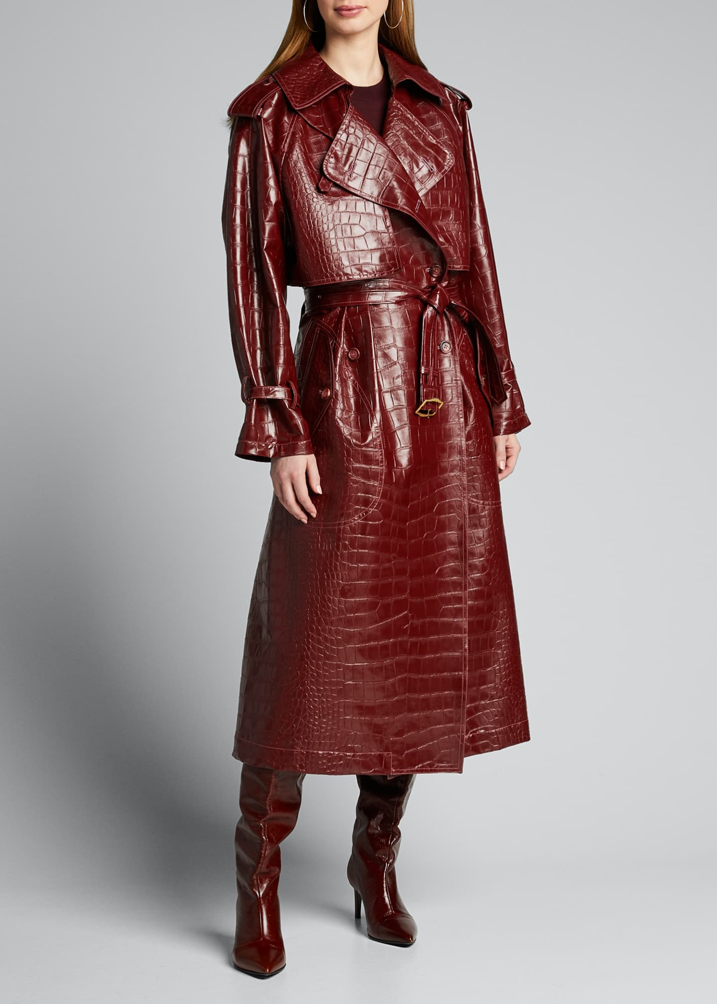 Image 3 of 5: Alligator-Embossed Faux-Leather Trench Coat
