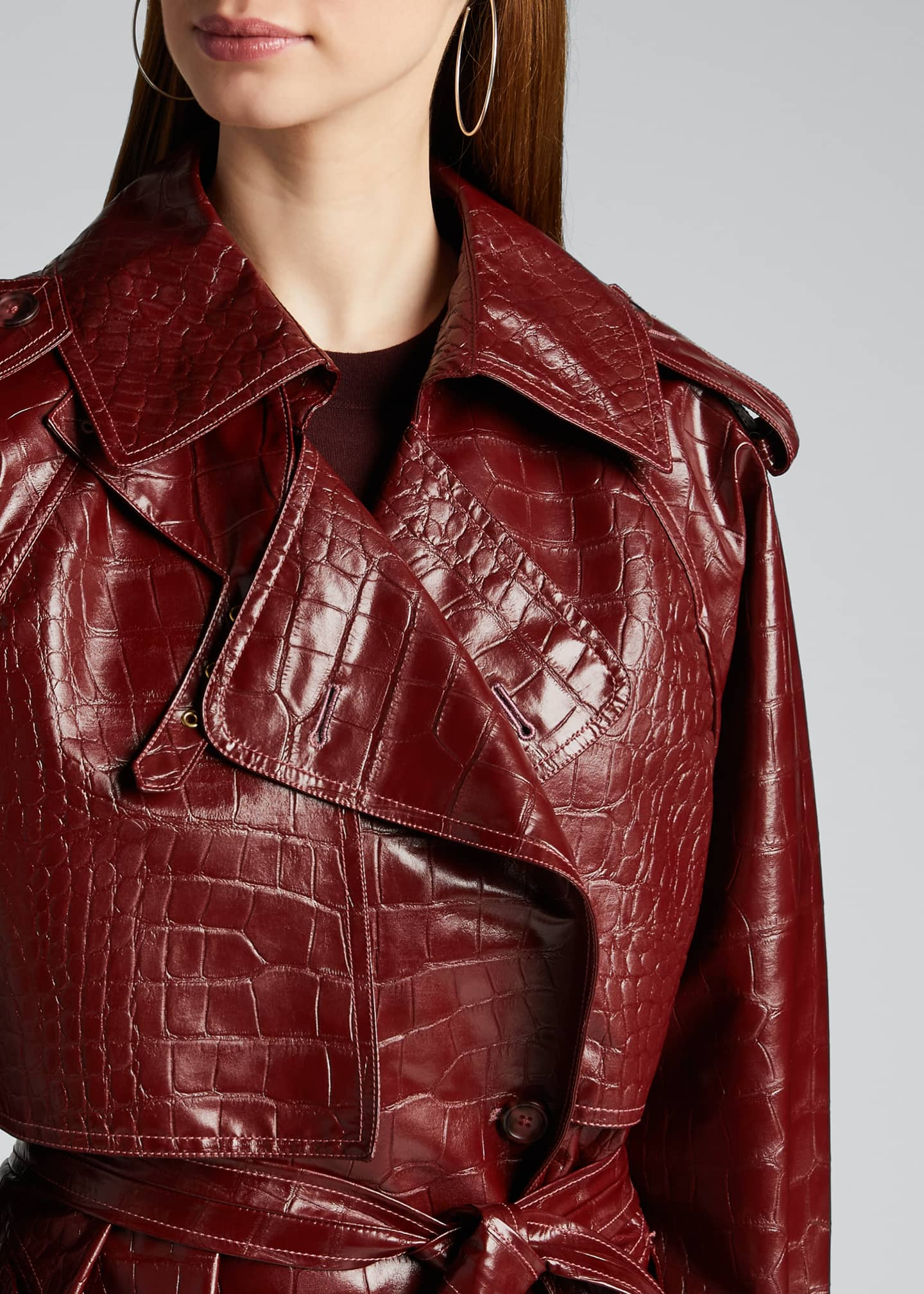 Image 4 of 5: Alligator-Embossed Faux-Leather Trench Coat