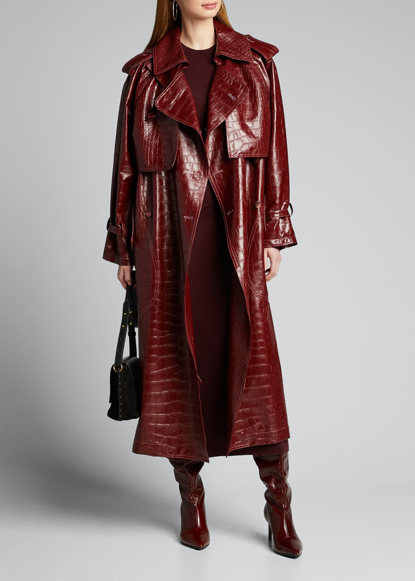 Image 1 of 5: Alligator-Embossed Faux-Leather Trench Coat