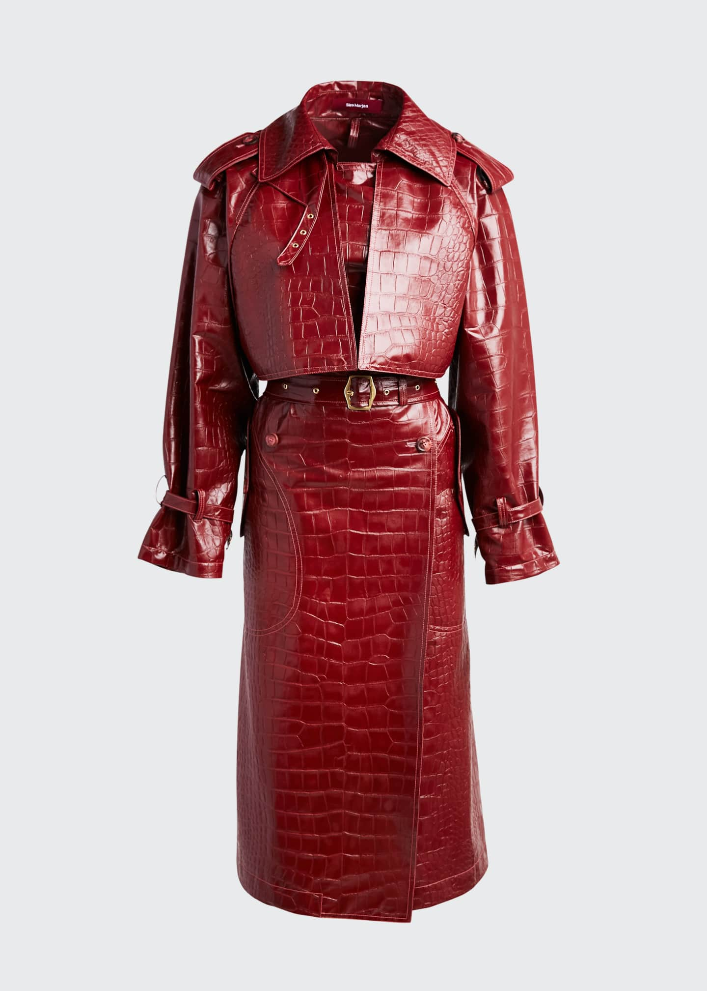 Image 5 of 5: Alligator-Embossed Faux-Leather Trench Coat
