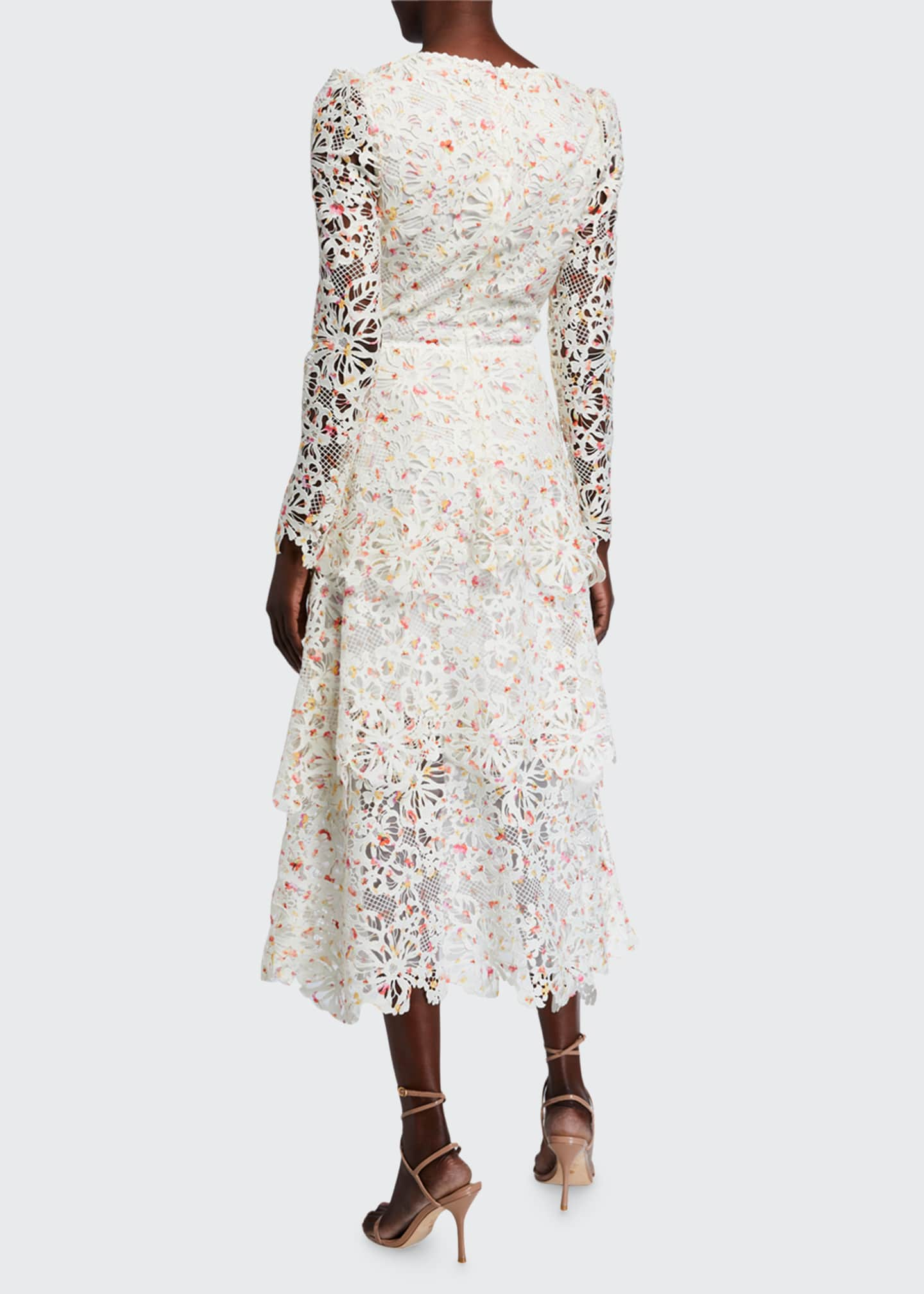 Image 2 of 2: Floral Lace Long-Sleeve Dress