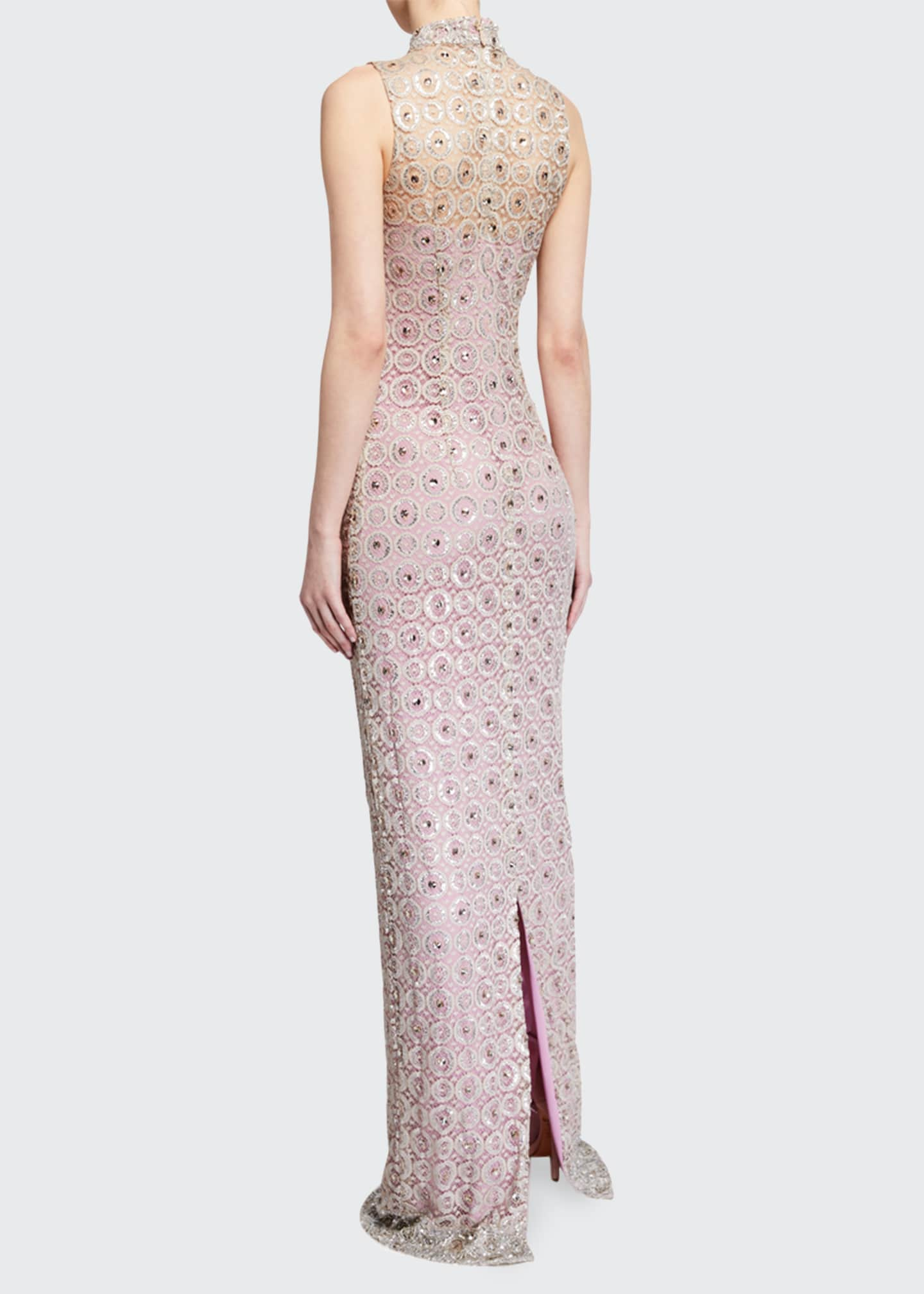 Image 2 of 2: Embroidered Sleeveless High-Neck Gown