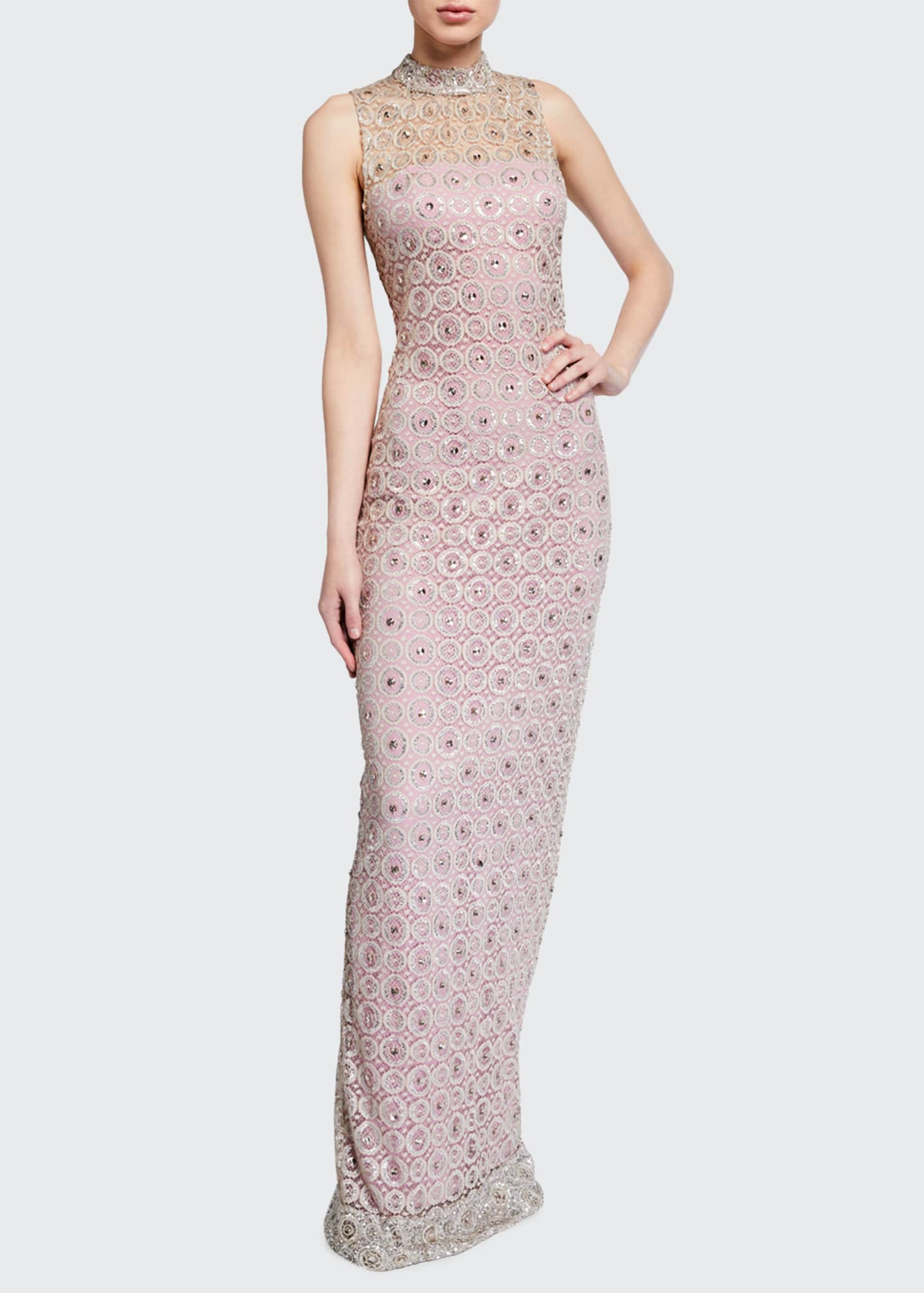 Image 1 of 2: Embroidered Sleeveless High-Neck Gown
