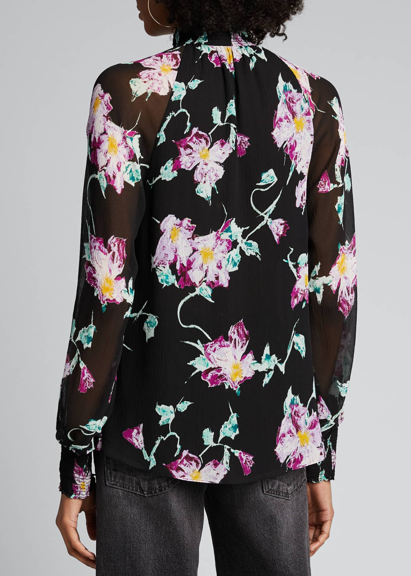 Image 2 of 5: Venetia Floral High-Neck Keyhole Top
