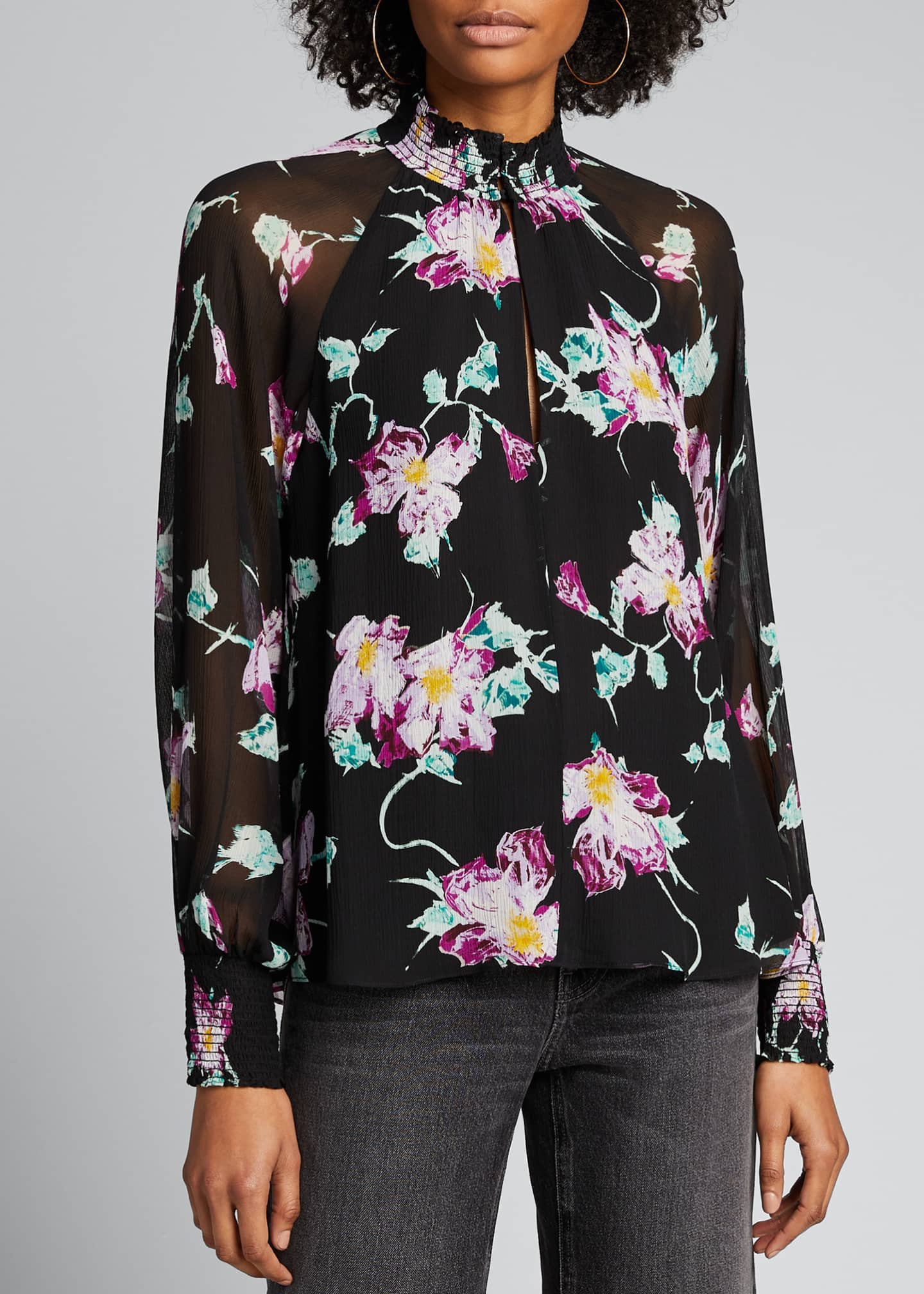 Image 3 of 5: Venetia Floral High-Neck Keyhole Top