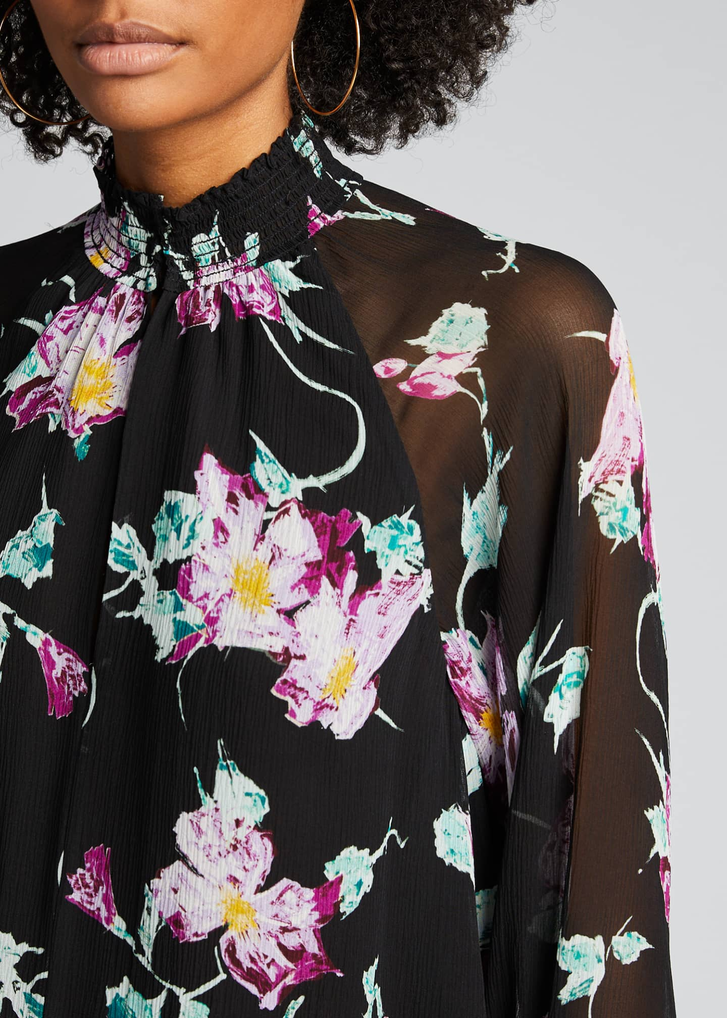 Image 4 of 5: Venetia Floral High-Neck Keyhole Top