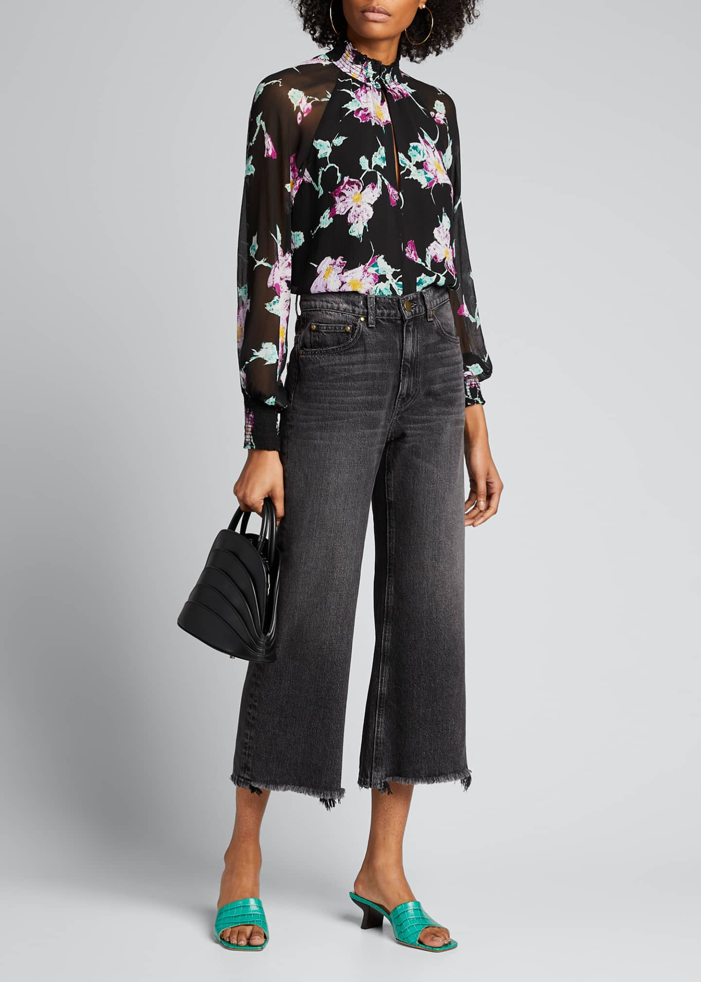 Image 1 of 5: Venetia Floral High-Neck Keyhole Top