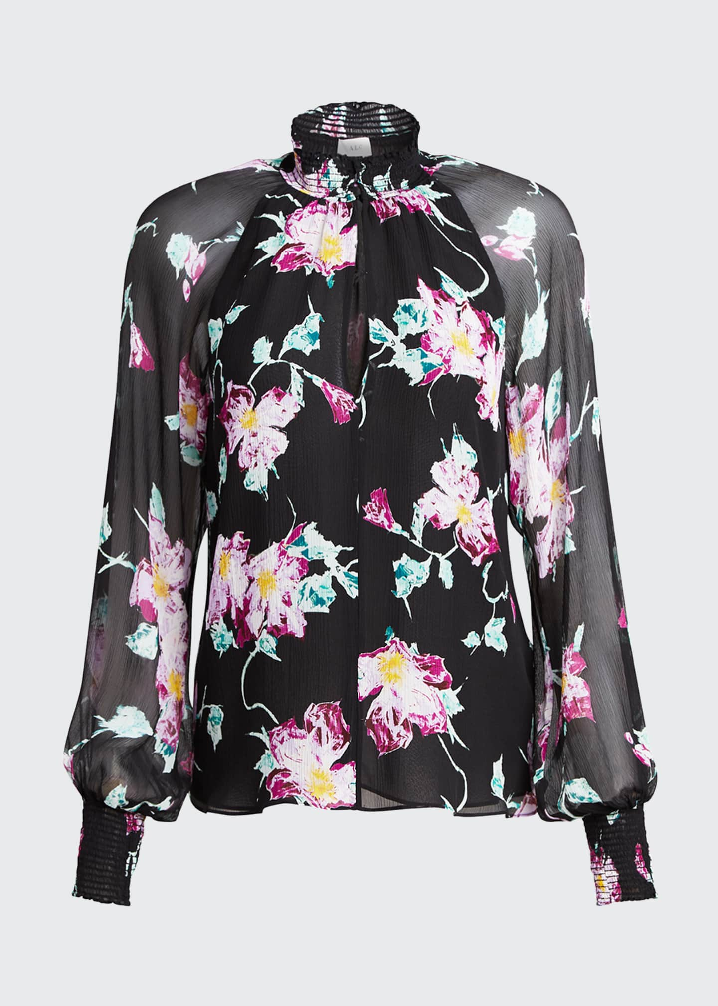 Image 5 of 5: Venetia Floral High-Neck Keyhole Top