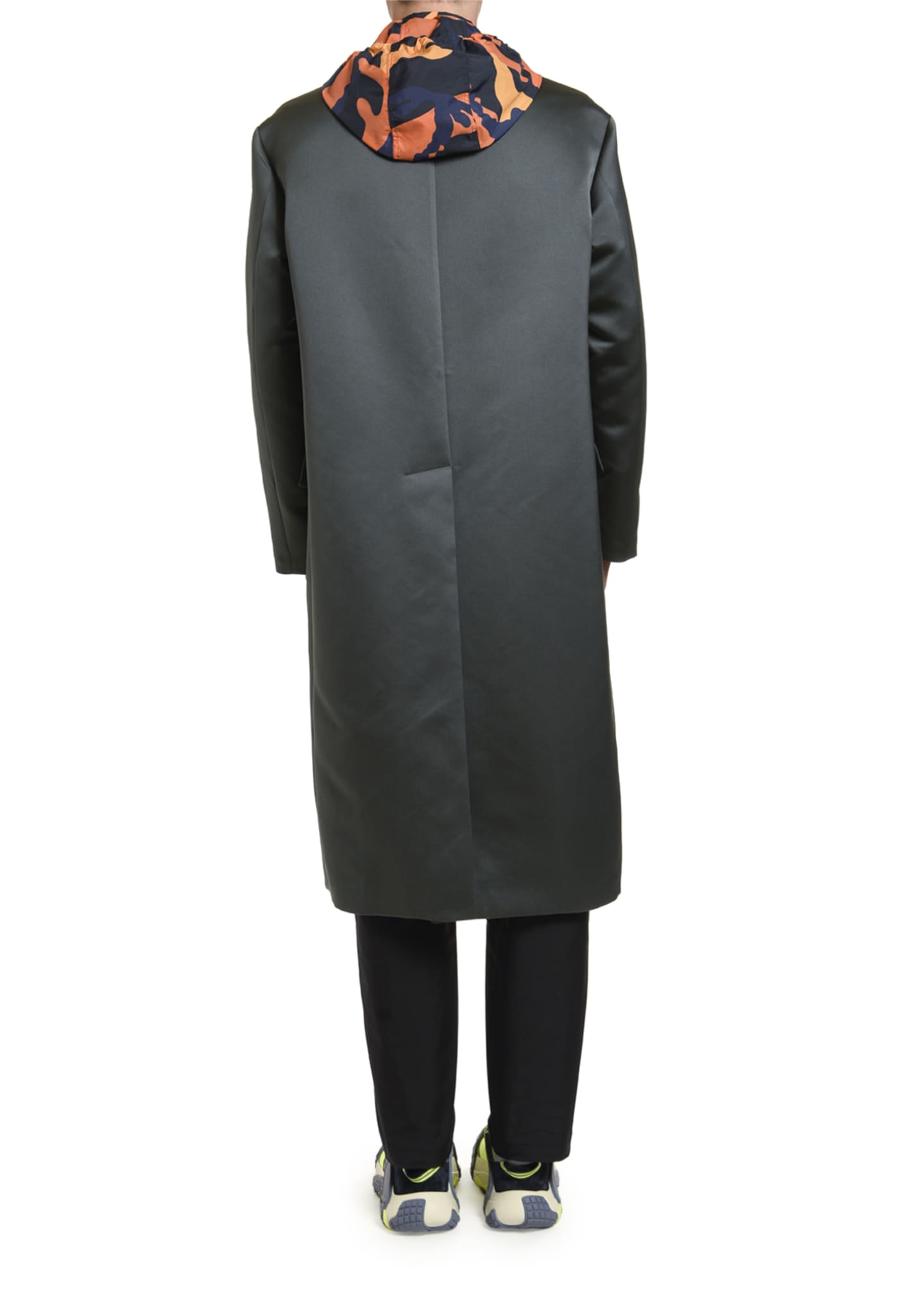 Image 2 of 3: Men's Knee-Length Satin Overcoat
