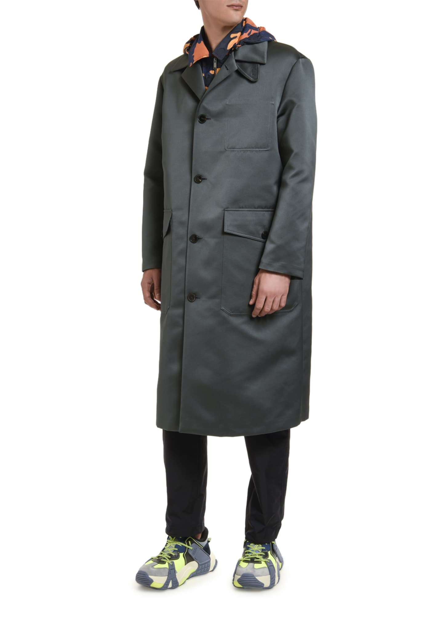 Image 3 of 3: Men's Knee-Length Satin Overcoat