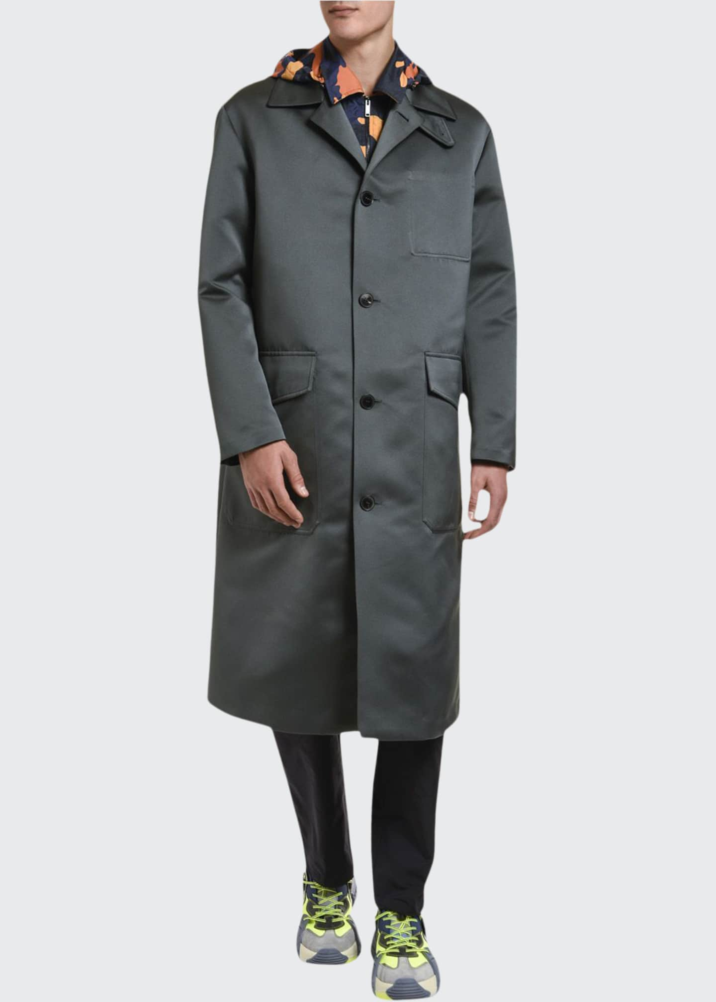 Image 1 of 3: Men's Knee-Length Satin Overcoat