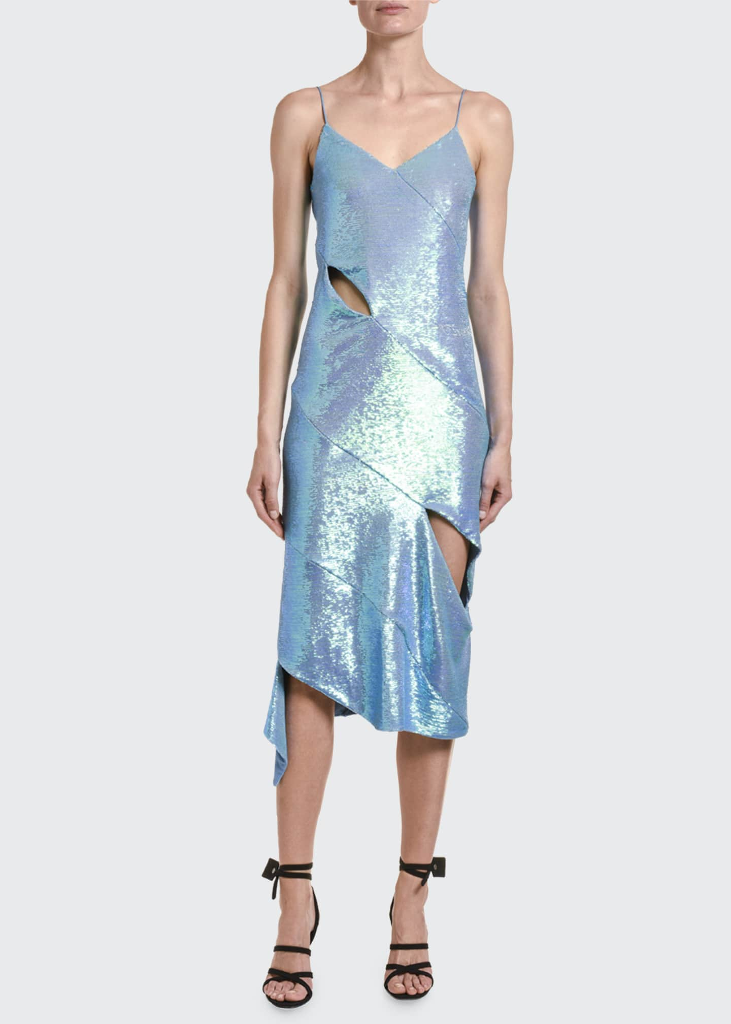 Image 1 of 2: Sleeveless Sequined Cutout Dress