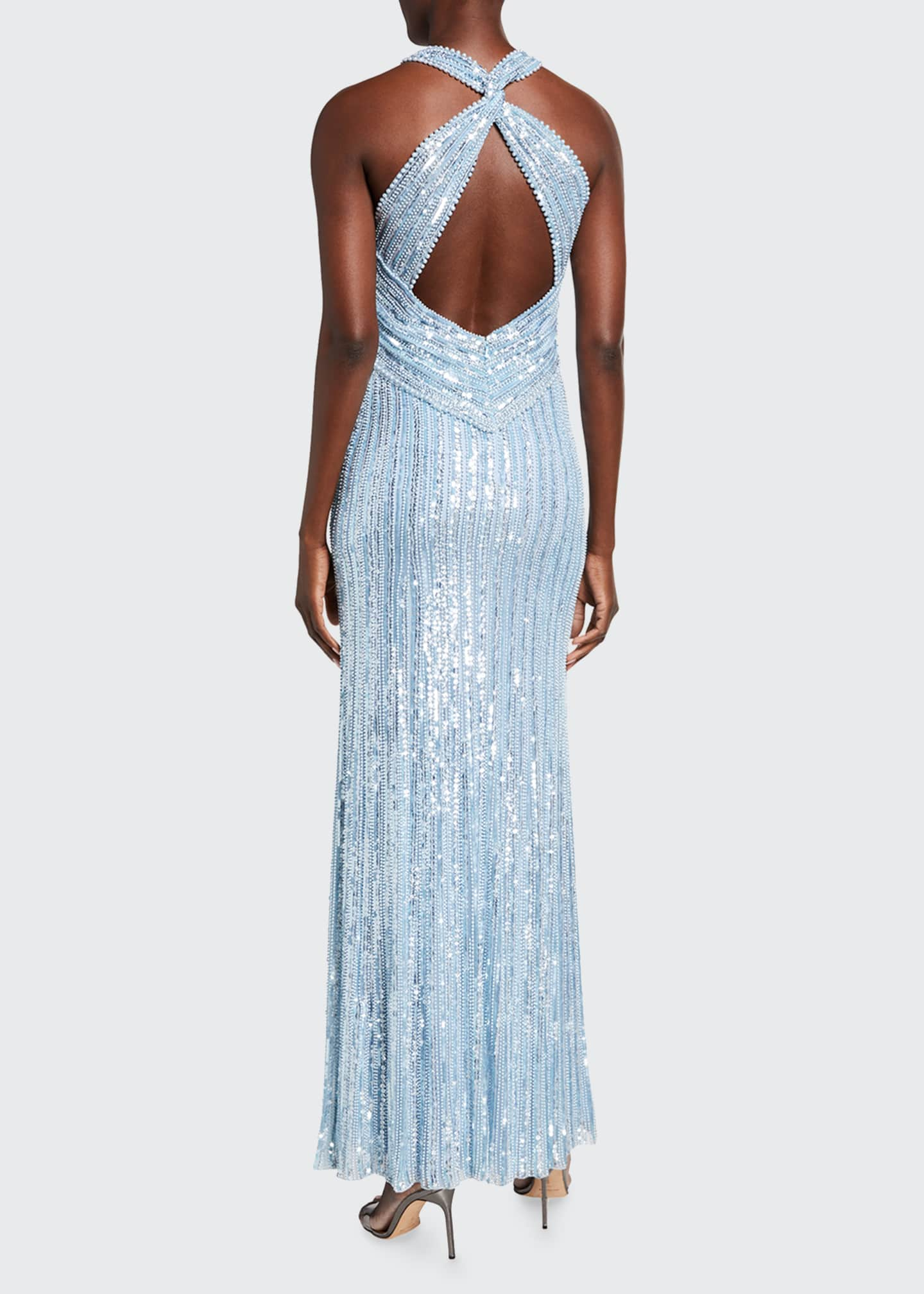 Image 2 of 2: Ila Sequin-Striped Halter-Neck Gown