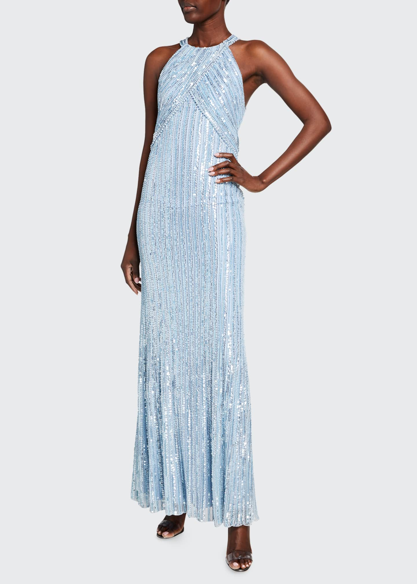 Image 1 of 2: Ila Sequin-Striped Halter-Neck Gown