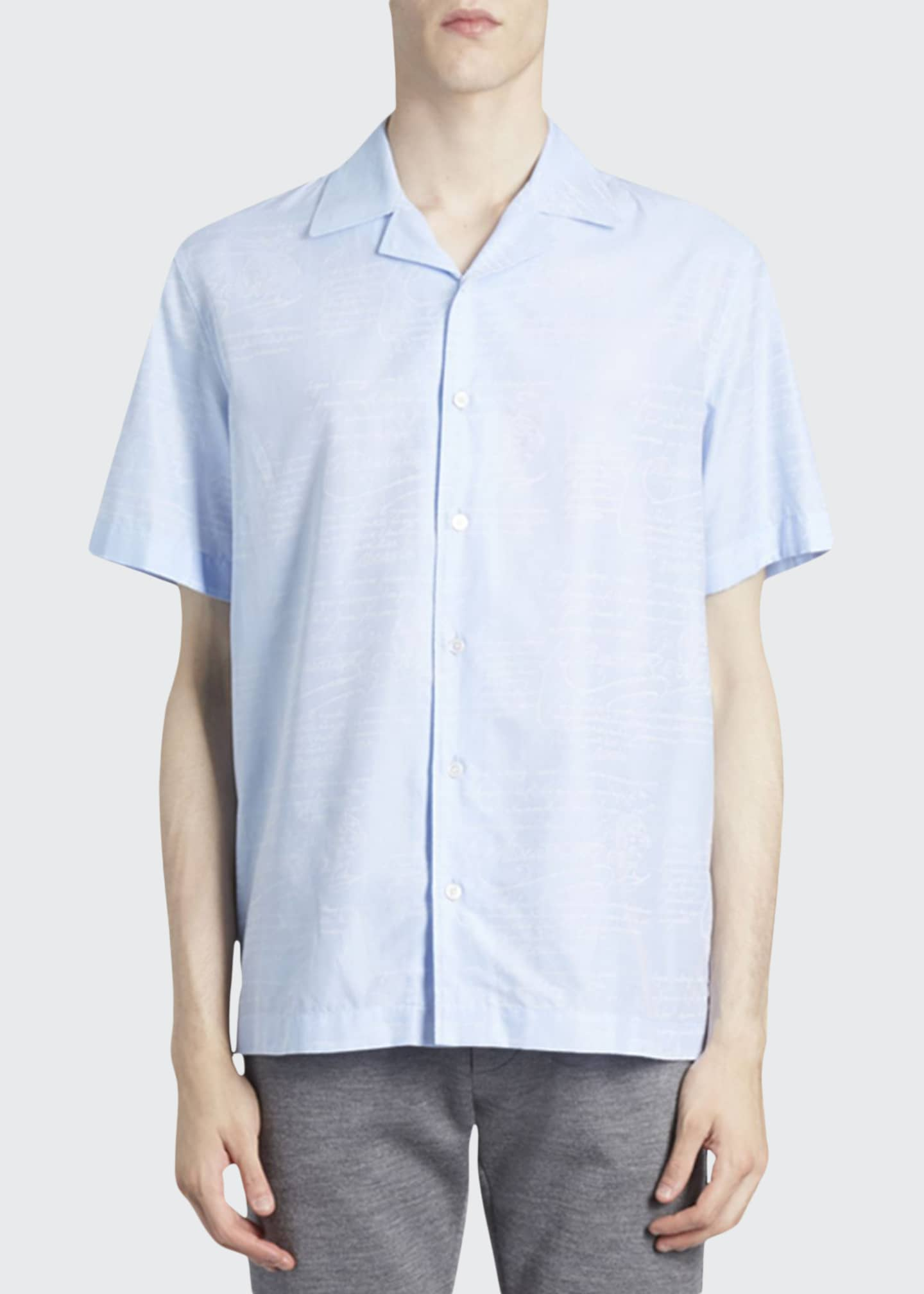 Image 1 of 2: Men's Scritto Silk Short-Sleeve Sport Shirt