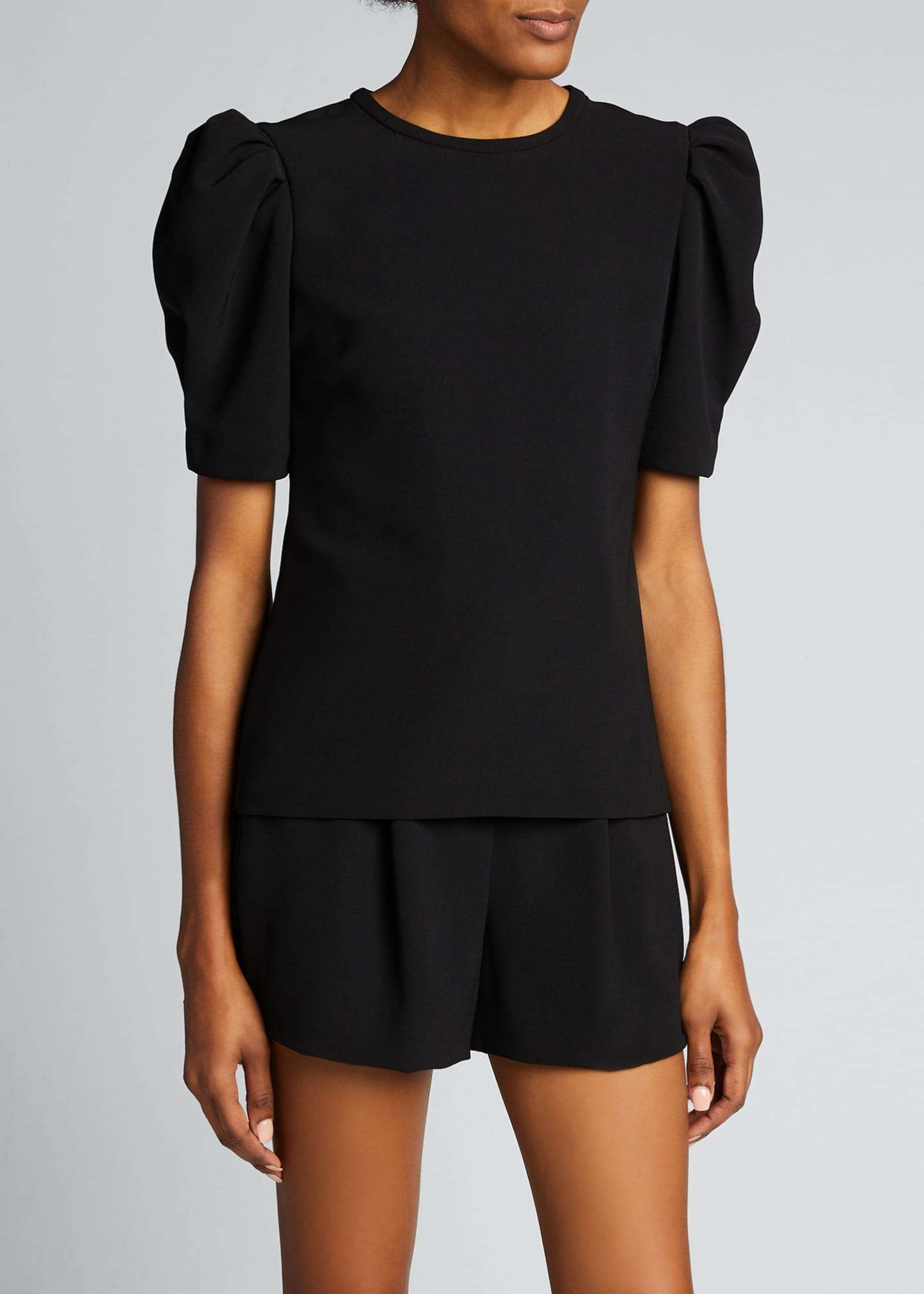 Image 3 of 5: West Puff-Sleeve Crepe Top