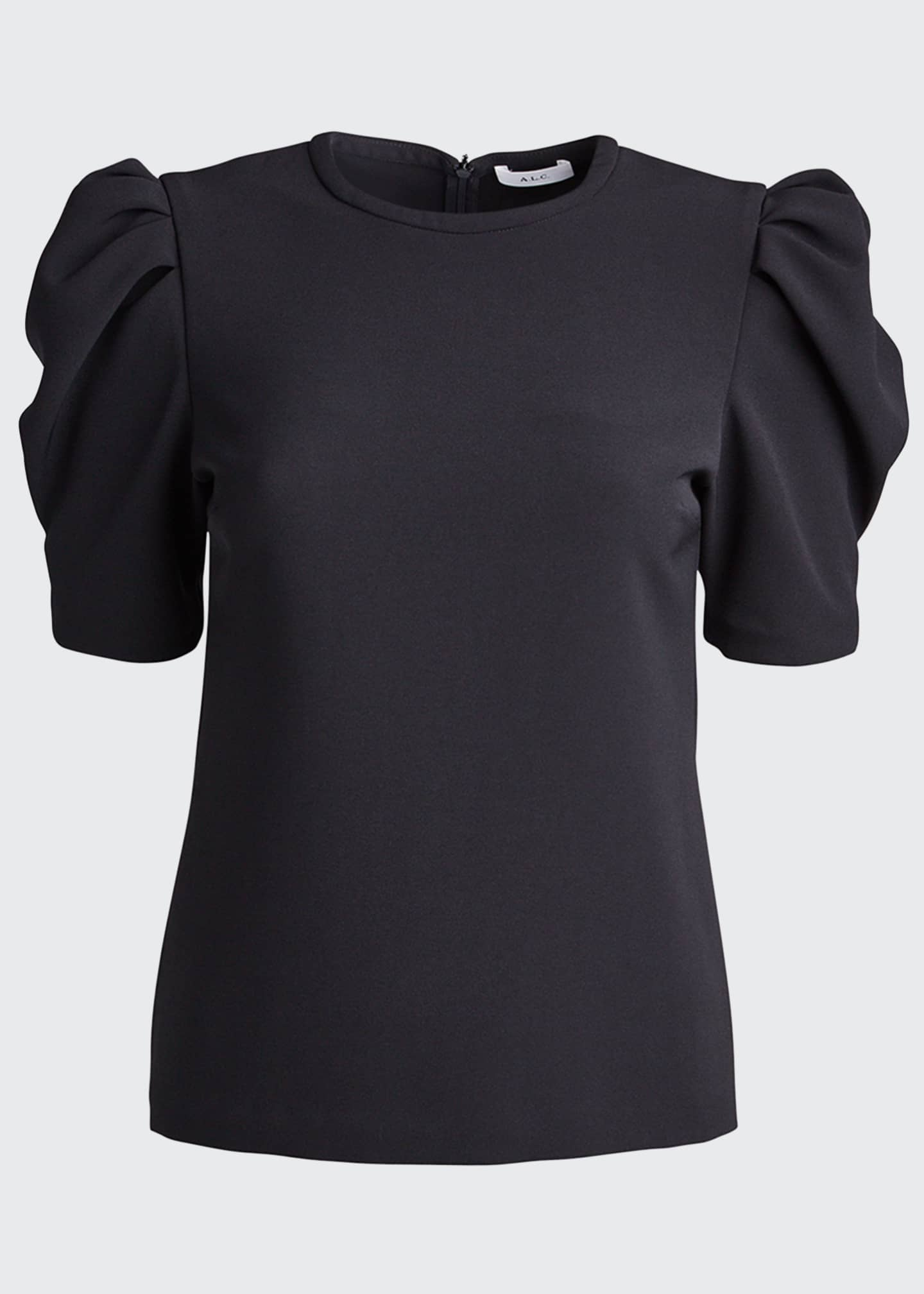 Image 5 of 5: West Puff-Sleeve Crepe Top