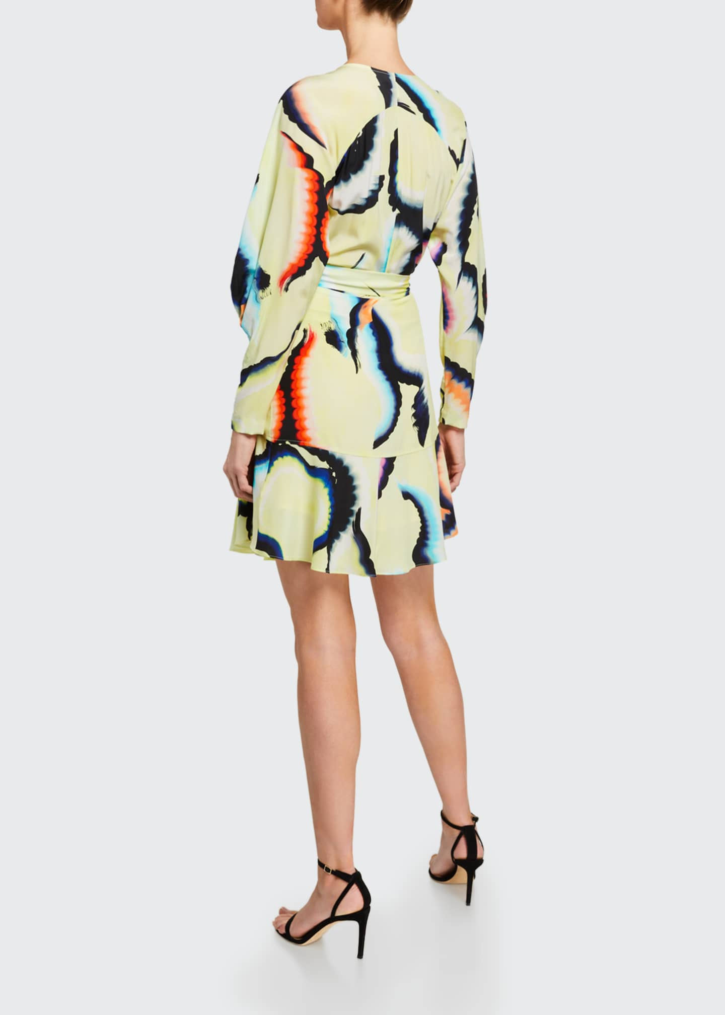 Image 2 of 2: Enzo Printed Flounce Wrap Dress